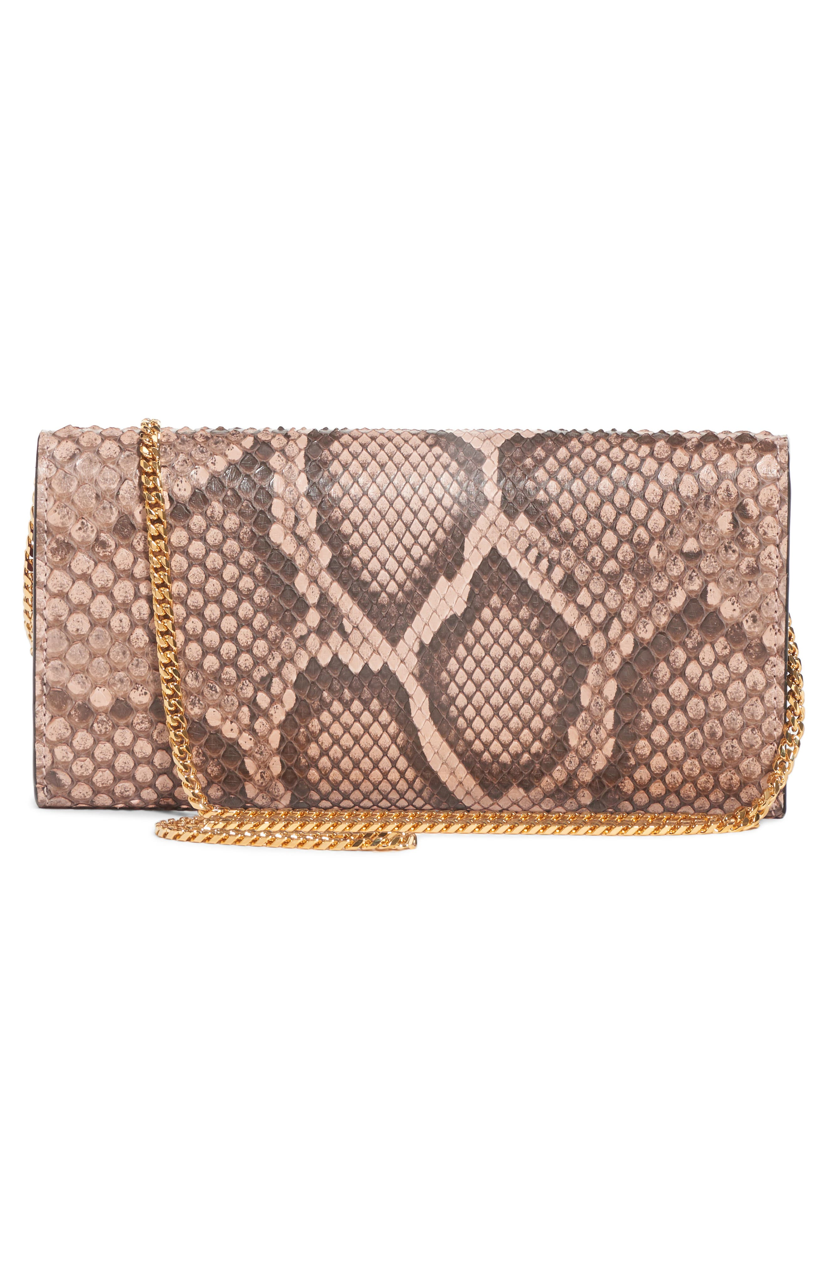 Genuine Python Wallet on a Chain,                             Alternate thumbnail 2, color,                             NUDE/ BROWN