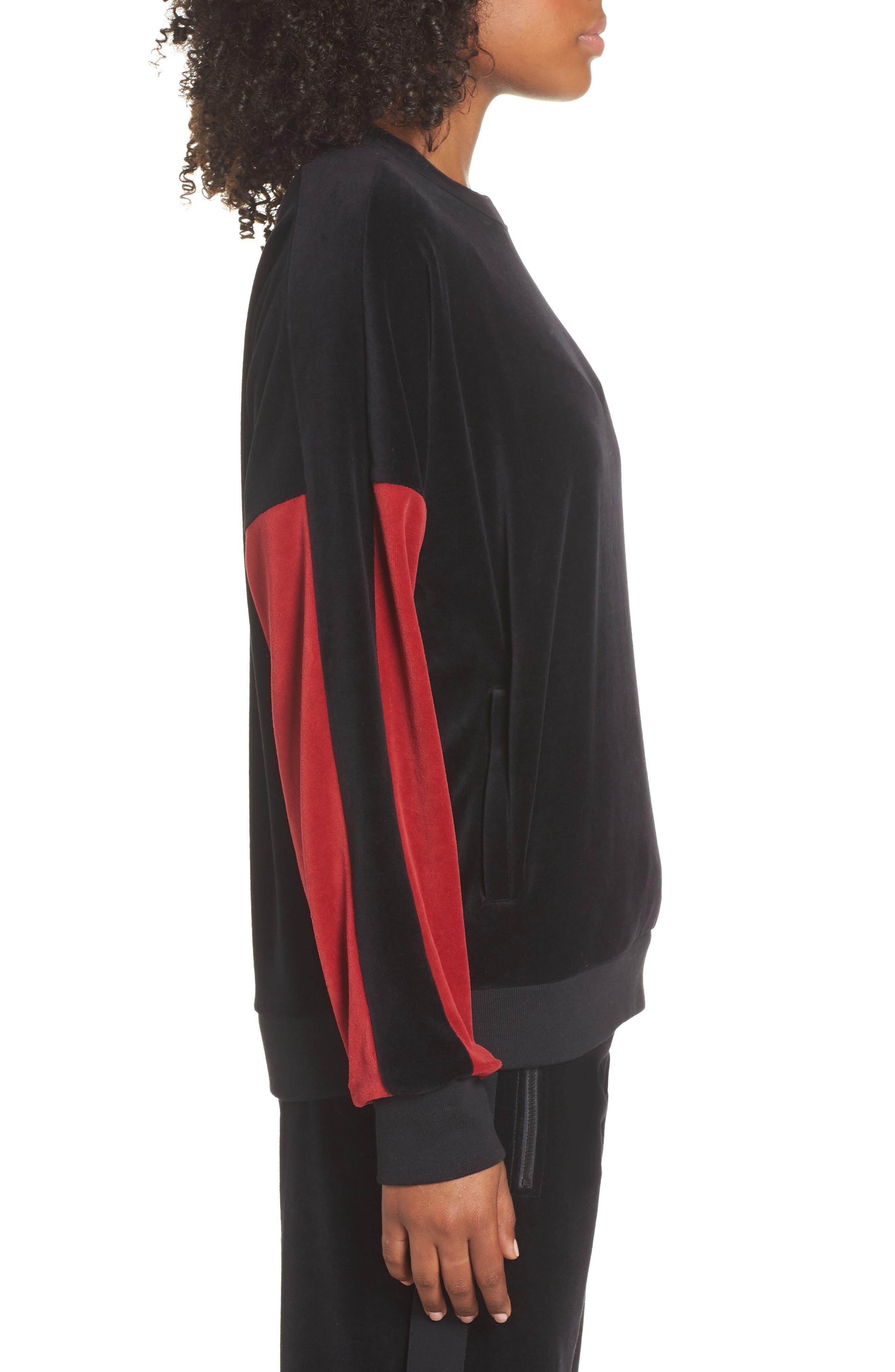Velour Crewneck Sweater,                             Alternate thumbnail 3, color,                             BLACK/ CRIMSON