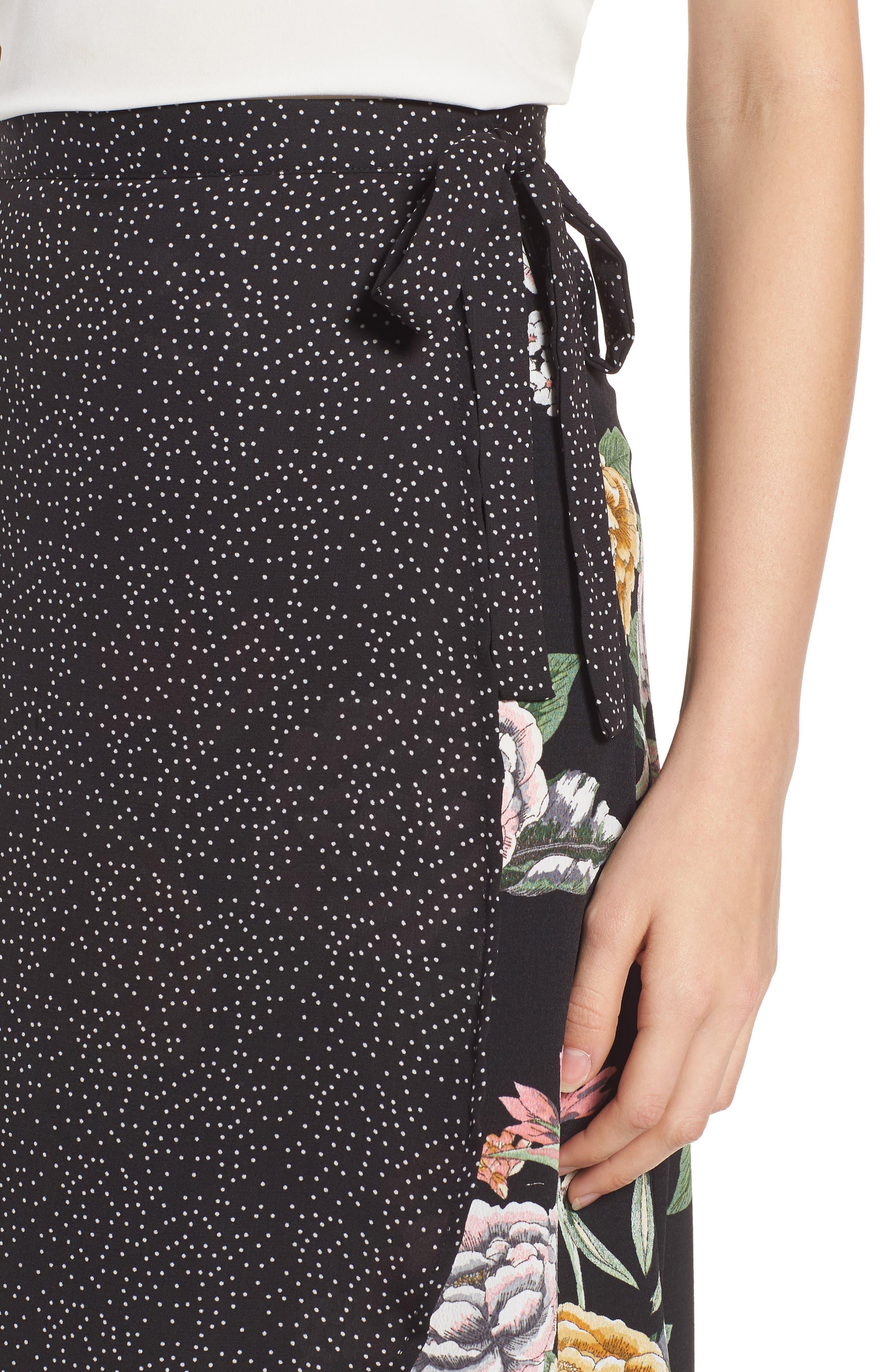Bishop + Young Enchanted Garden Mix Media Skirt,                             Alternate thumbnail 4, color,                             ENCHANTED GARDEN PRINT
