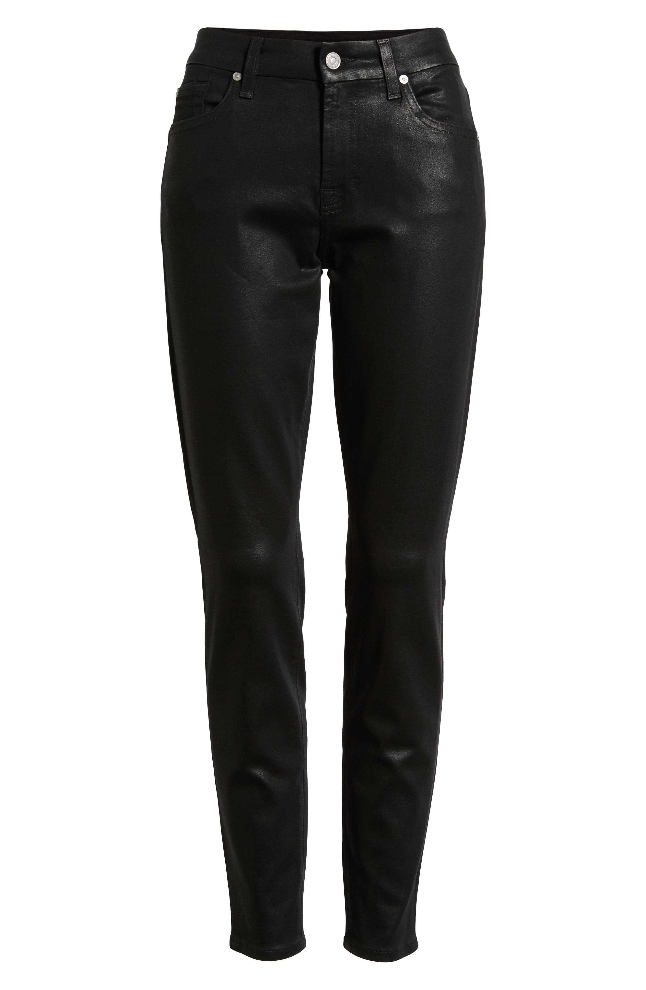 7 FOR ALL MANKIND<SUP>®</SUP>,                             b(air) Coated Ankle Skinny Jeans,                             Alternate thumbnail 7, color,                             BLACK COATED