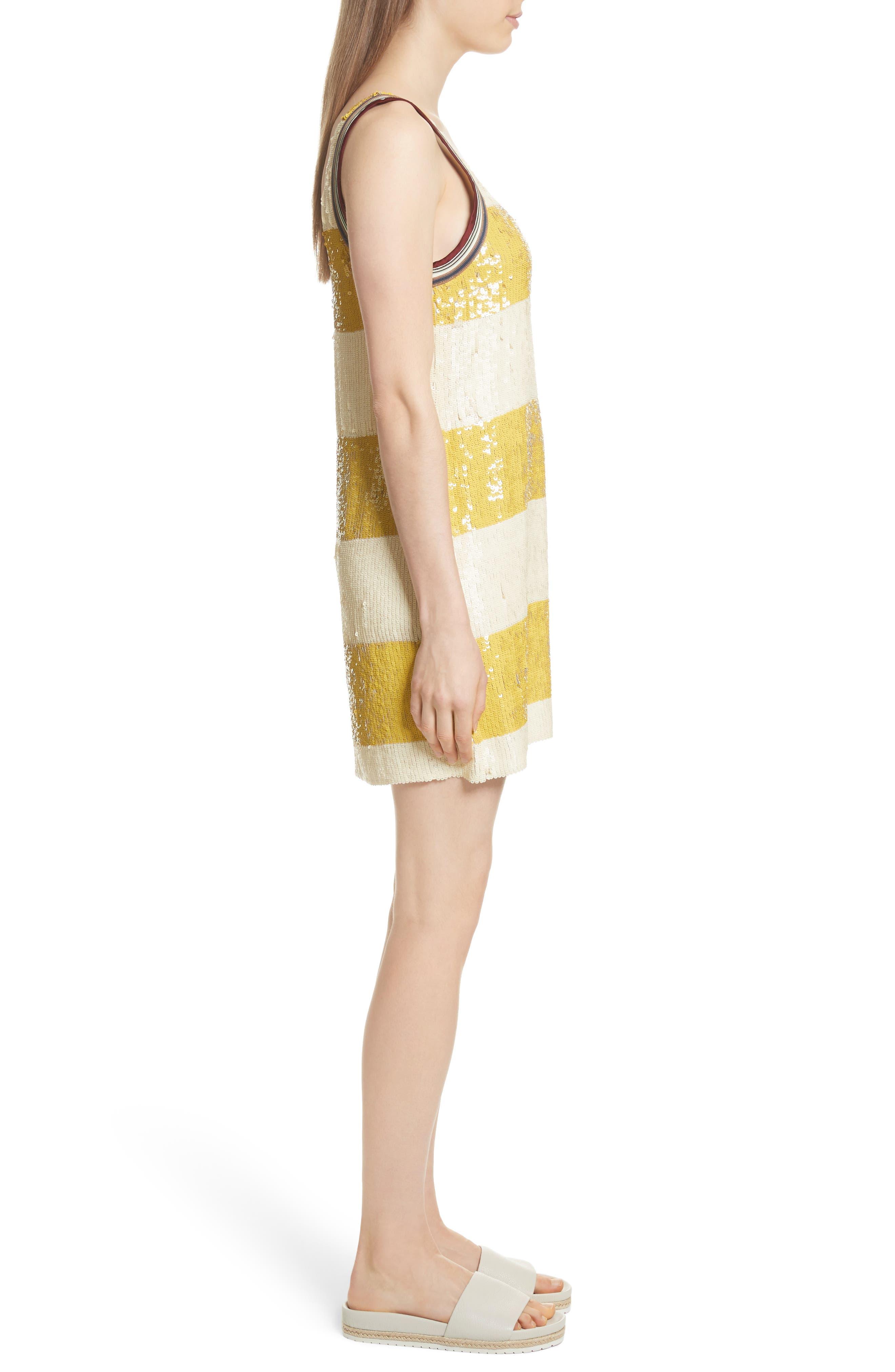 Stripe Sequin Silk Shift Dress,                             Alternate thumbnail 3, color,                             709