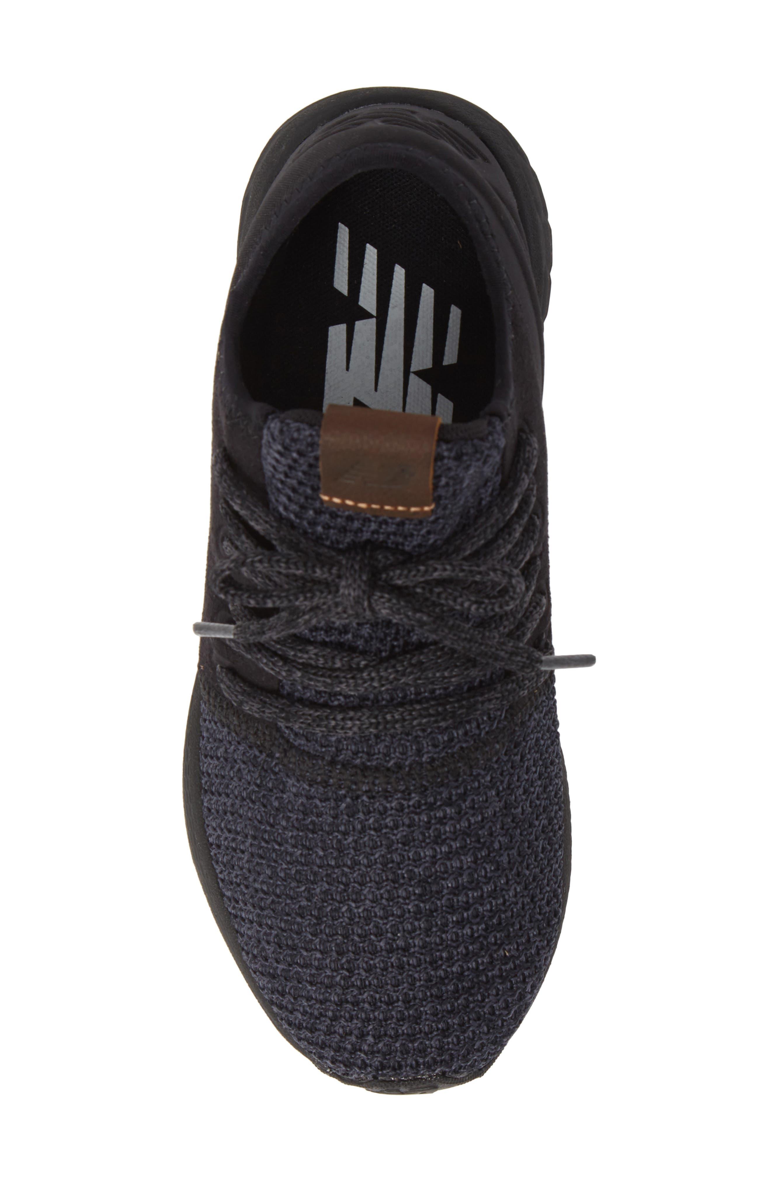 Fresh Foam Cruz Knit Running Shoe,                             Alternate thumbnail 5, color,                             BLACK/ BLACK