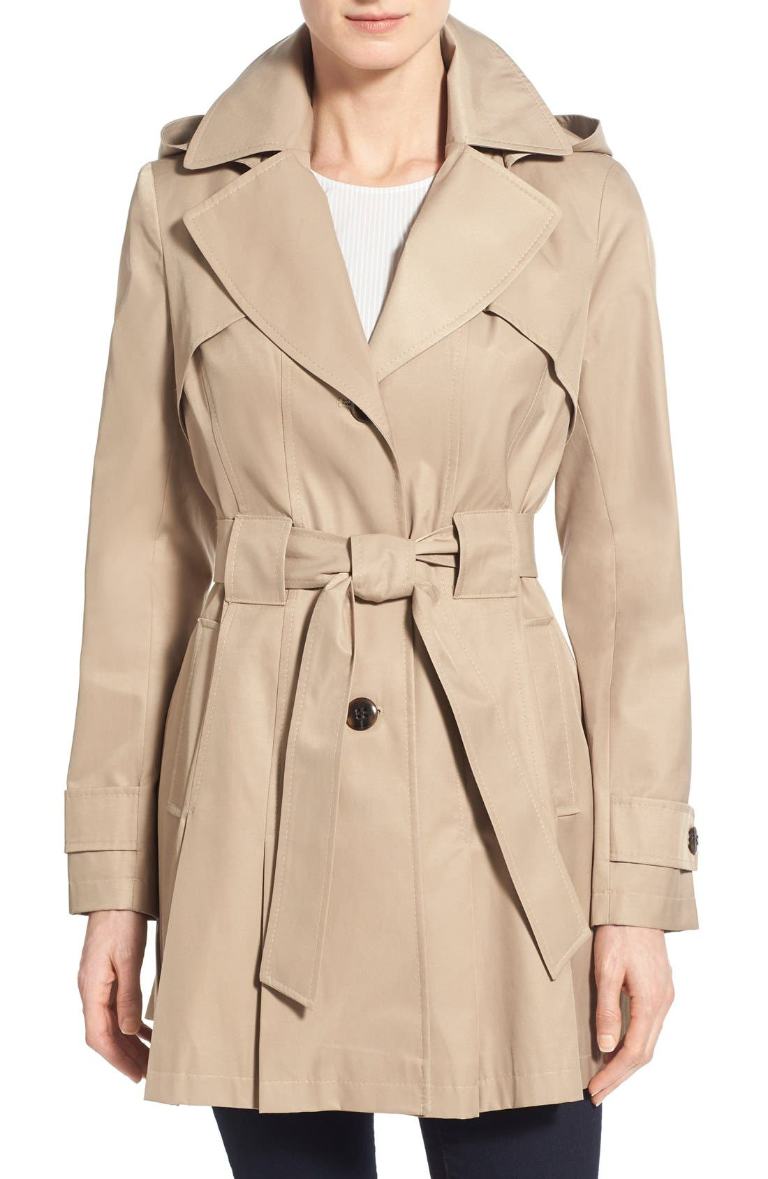 'Scarpa' Hooded Single Breasted Trench Coat,                             Main thumbnail 4, color,