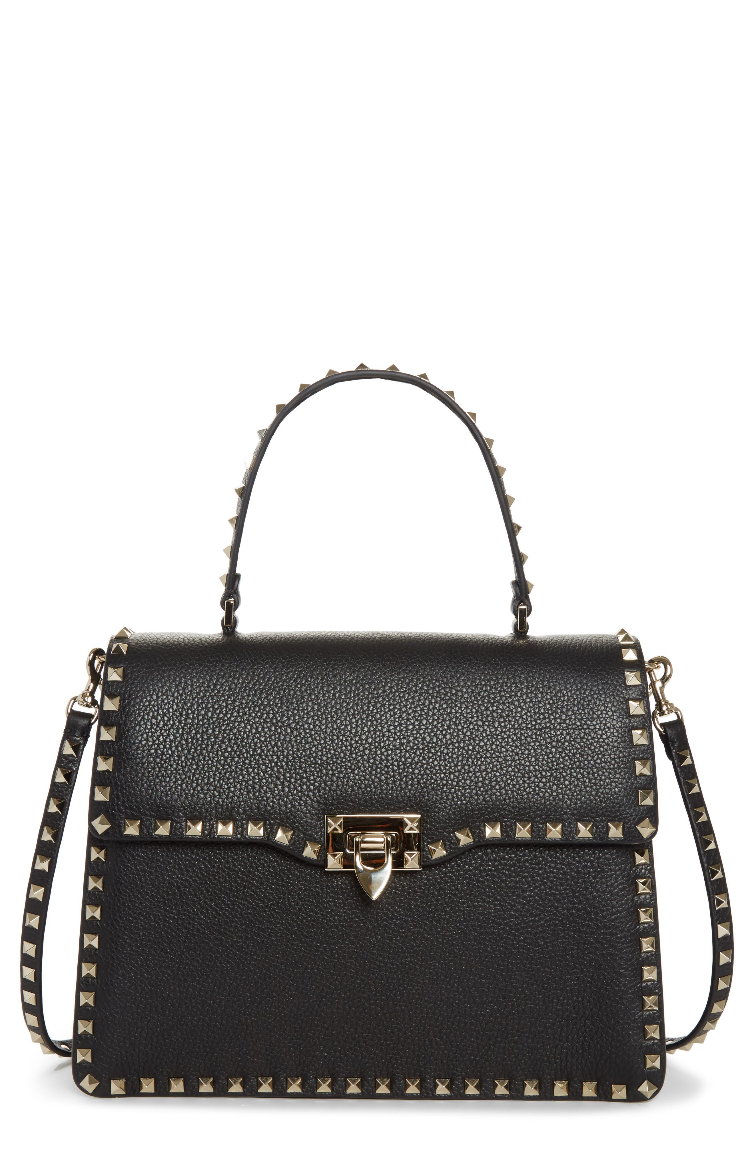Rockstud Leather Top Handle Shoulder Bag,                             Main thumbnail 1, color,                             001