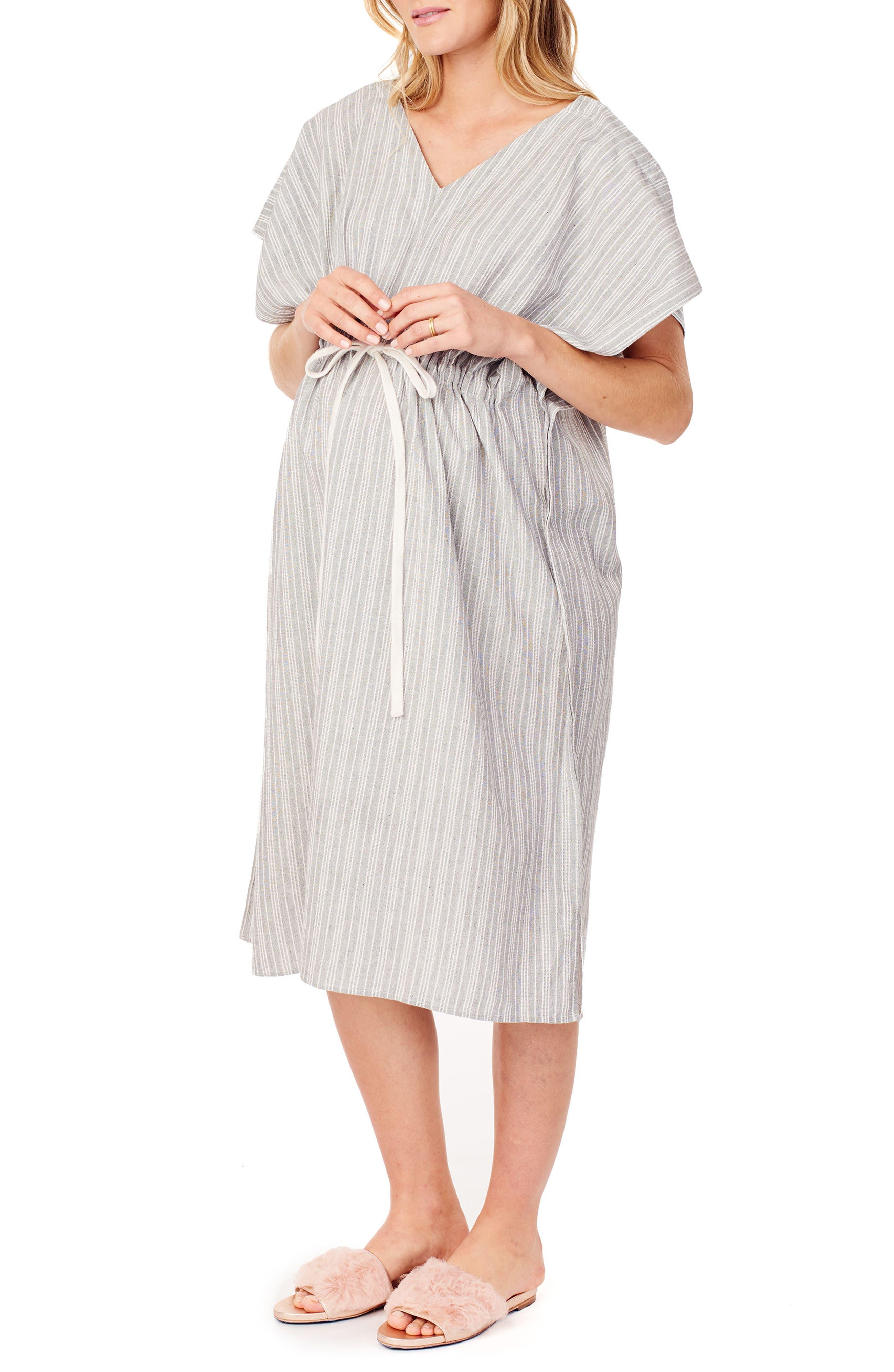 x James Fox & Co. Maternity/Nursing Hospital Gown,                             Alternate thumbnail 4, color,                             BLACK/ WHITE DOBBY STRIPE