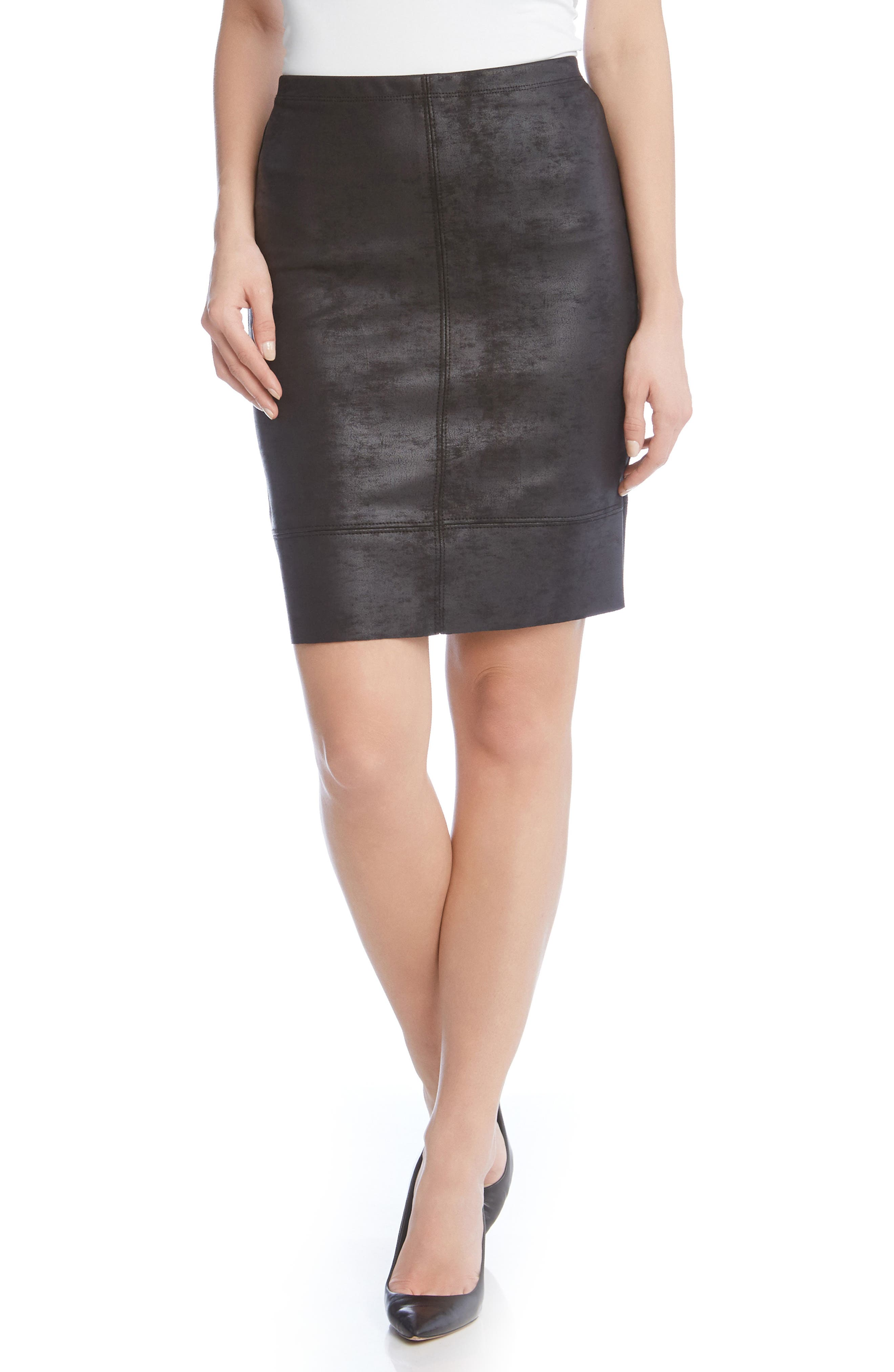 Stretch Faux Leather Skirt,                             Main thumbnail 1, color,                             001