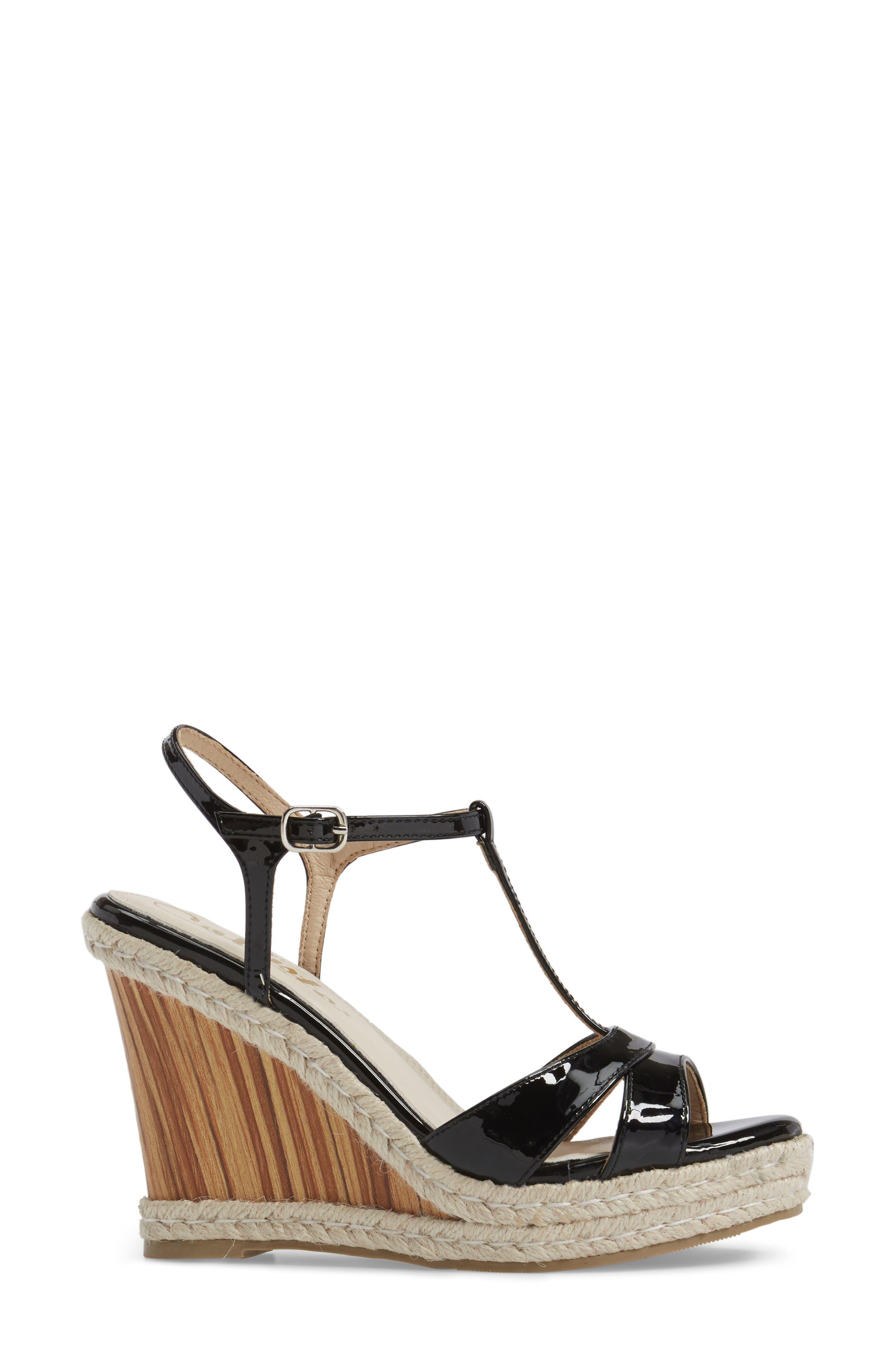 Alinna T-Strap Wedge Sandal,                             Alternate thumbnail 3, color,                             002