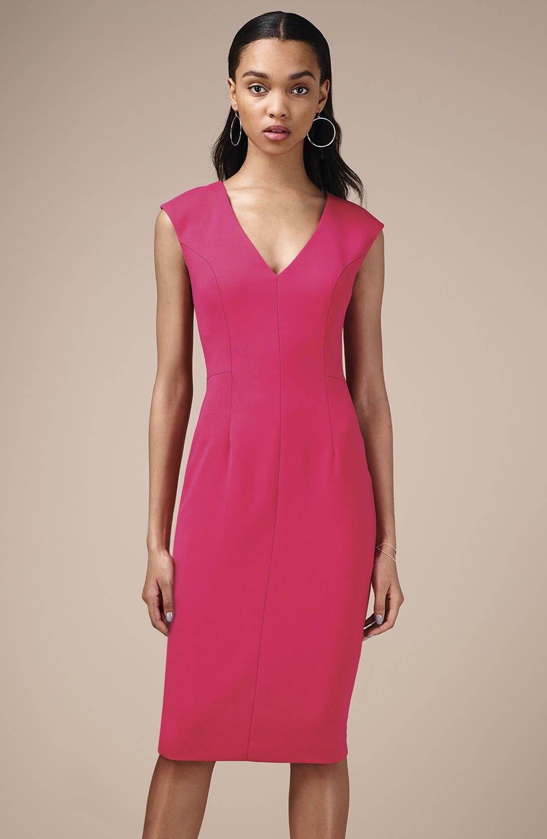 Crepe Sheath Dress,                             Alternate thumbnail 16, color,