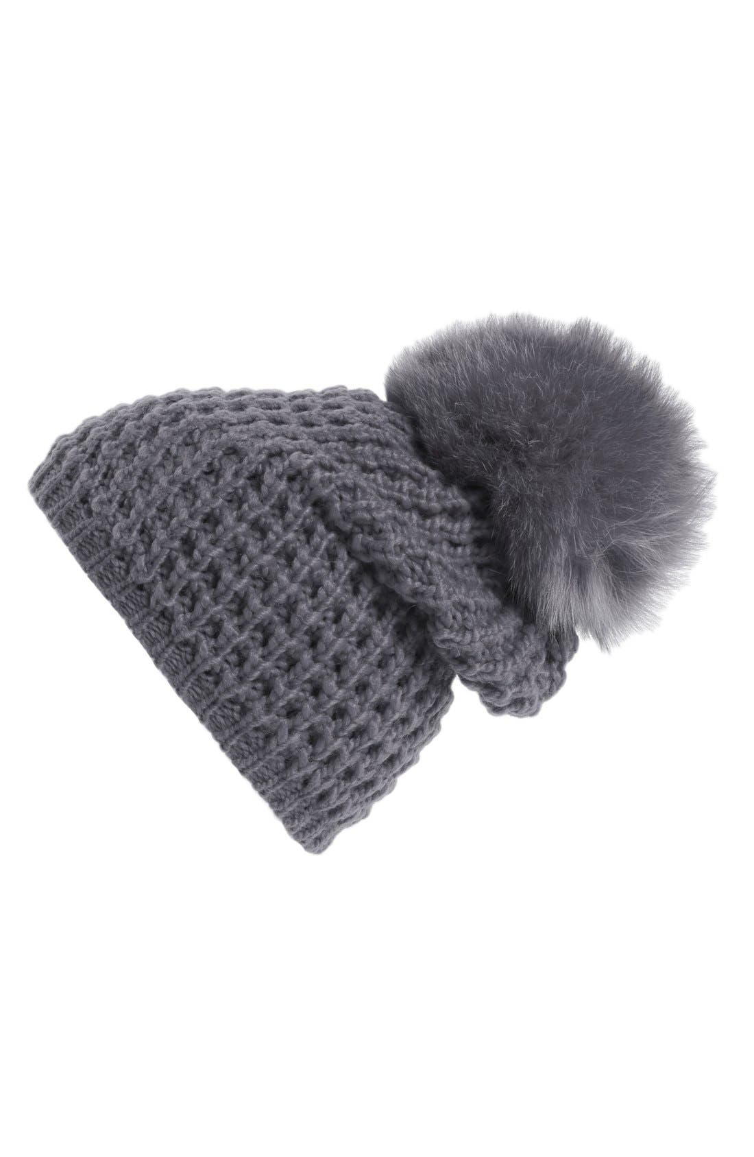 Genuine Fox Pompom Hat,                             Main thumbnail 1, color,