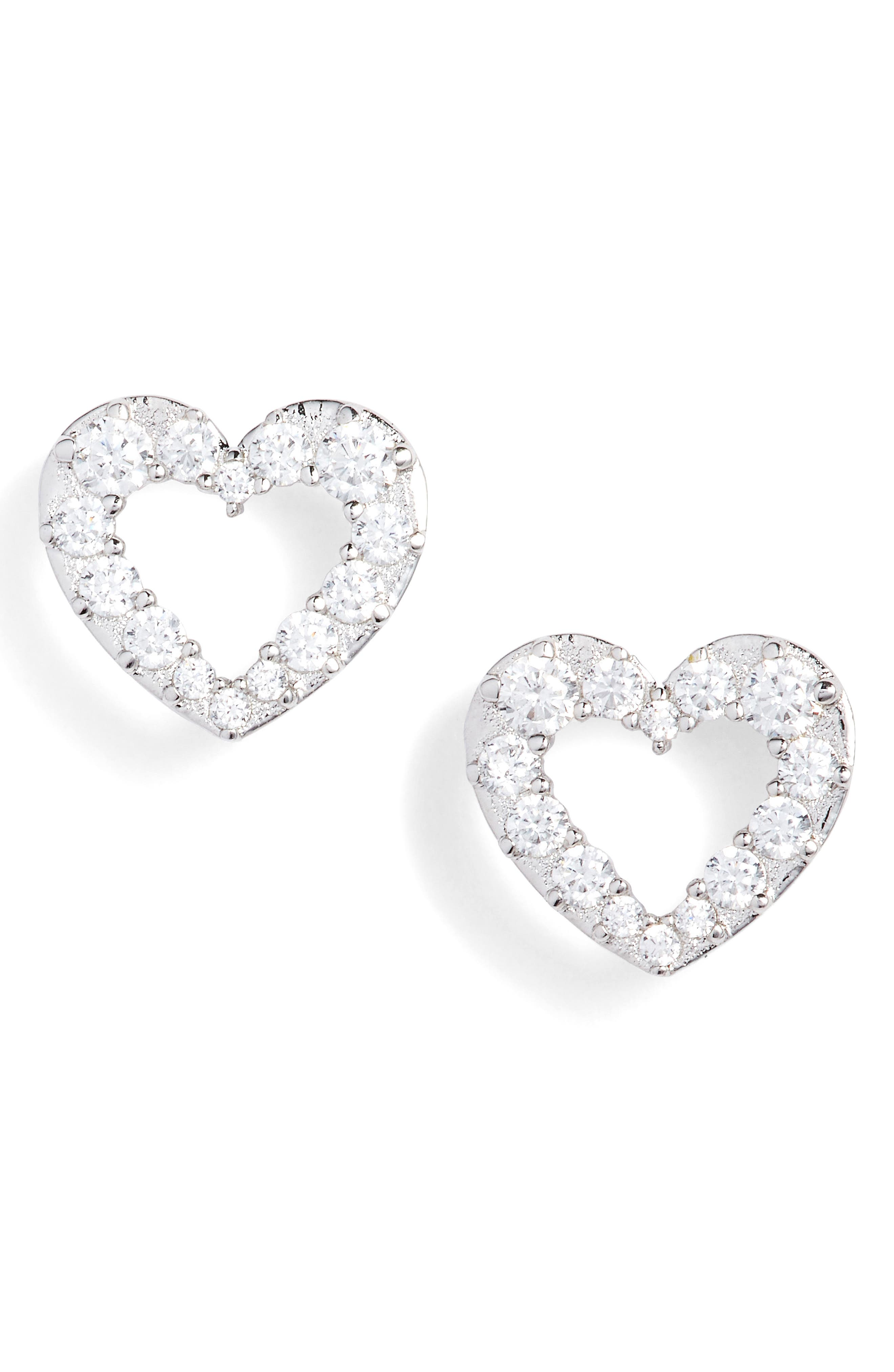 Reminisce Cubic Zirconia Heart Stud Earrings,                         Main,                         color,