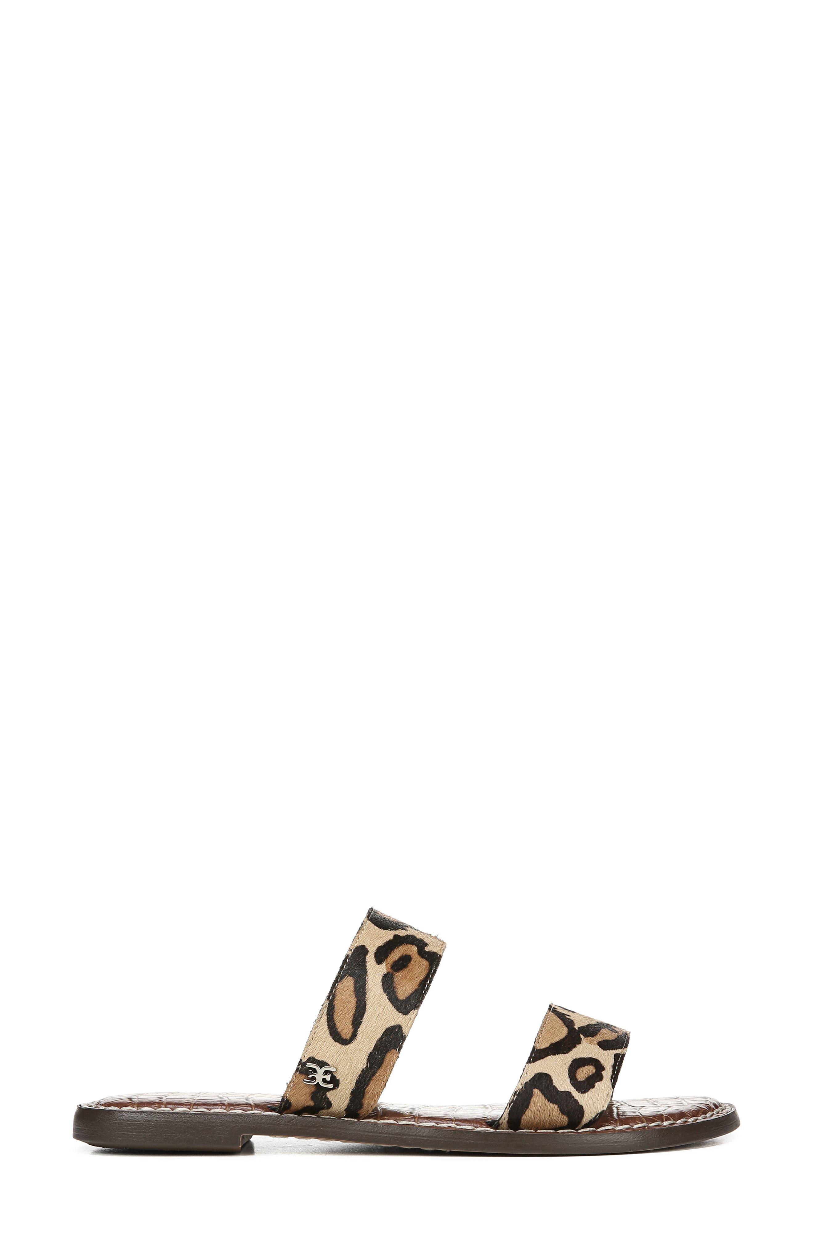 SAM EDELMAN,                             Gala Two Strap Genuine Calf Hair Slide Sandal,                             Alternate thumbnail 3, color,                             LEOPARD CALF HAIR
