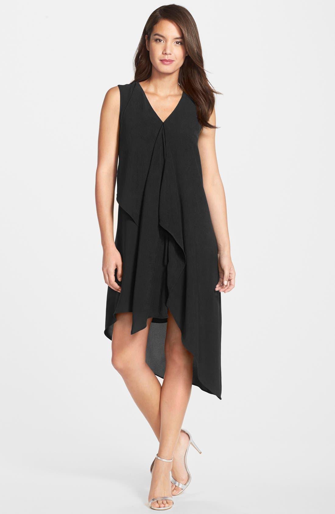 Ruffle Front Crepe High/Low Dress,                             Main thumbnail 1, color,                             BLACK