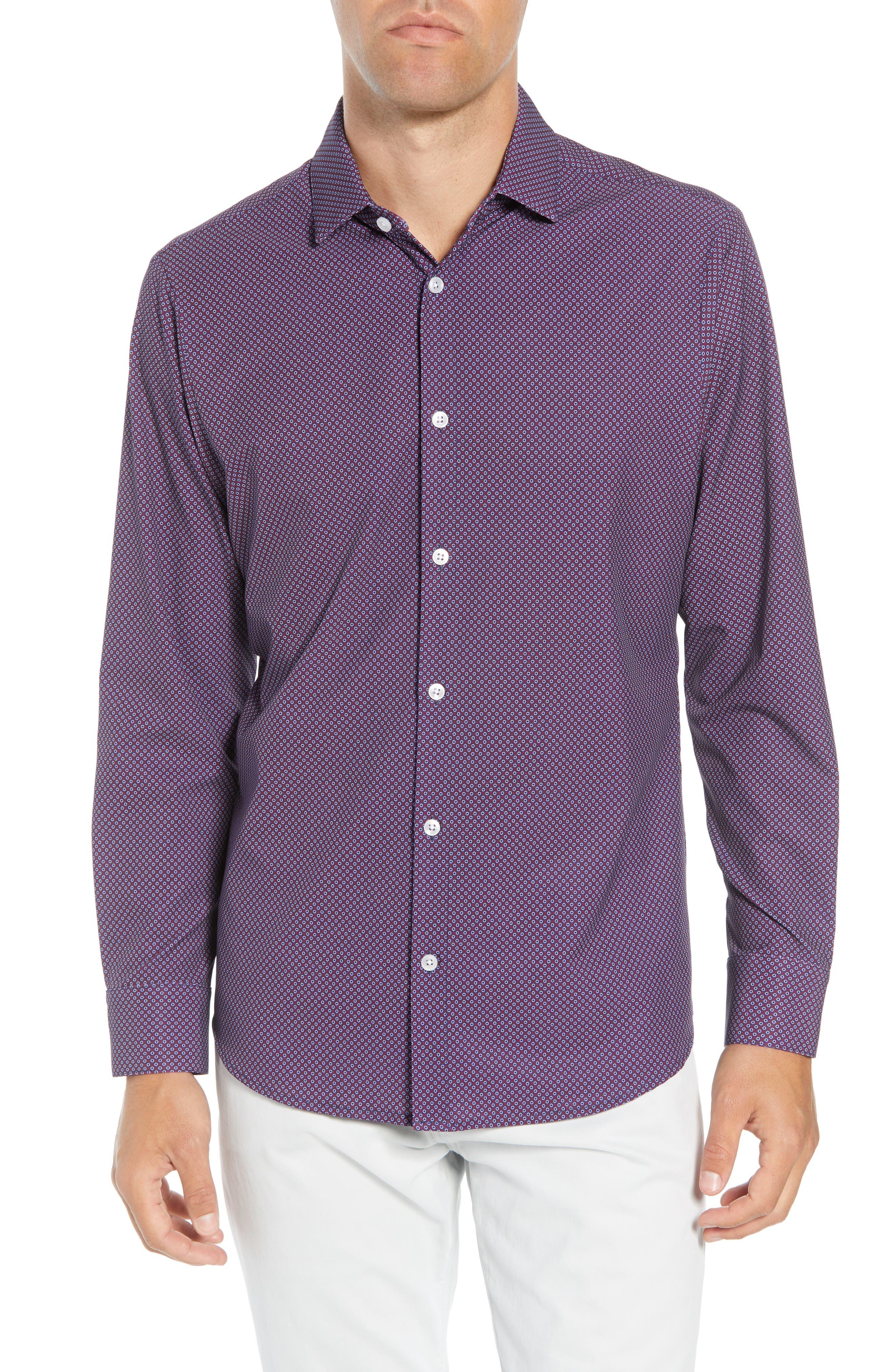 Damon Regular Fit Print Performance Sport Shirt, Main, color, PLUM