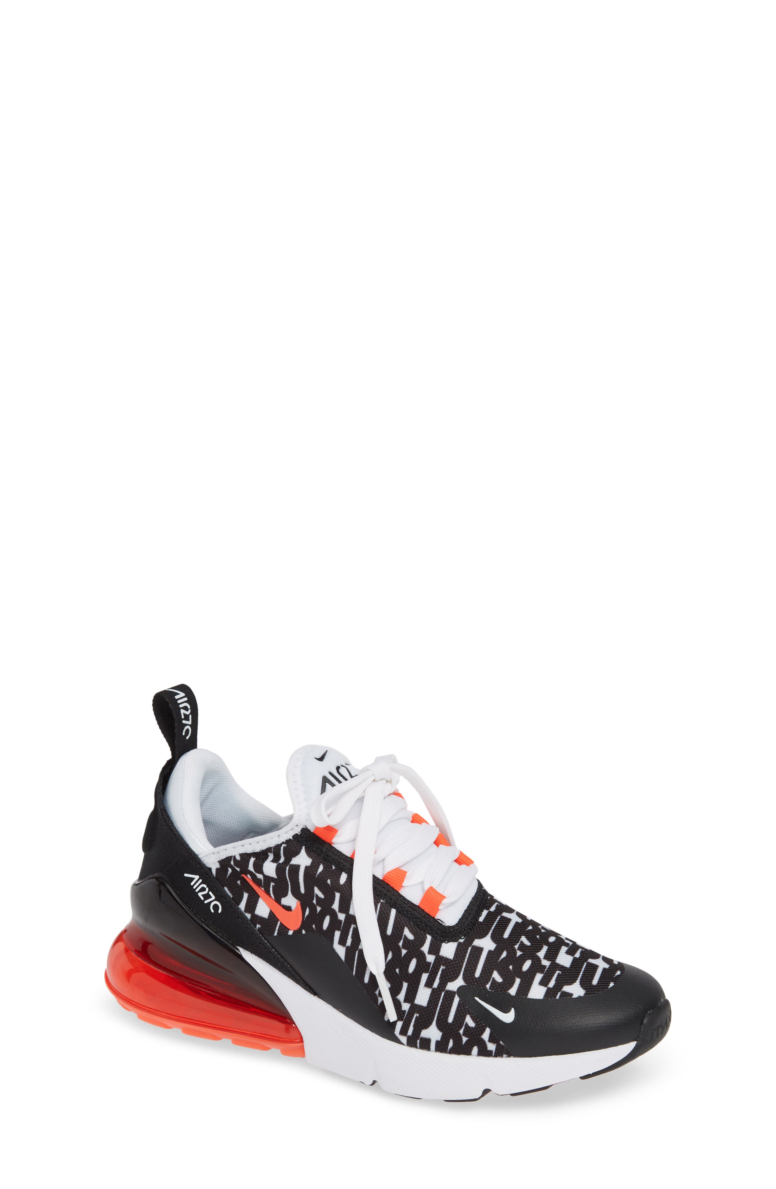 Air Max 270 Print Sneaker,                         Main,                         color, BLACK/ WHITE/ BRIGHT CRIMSON