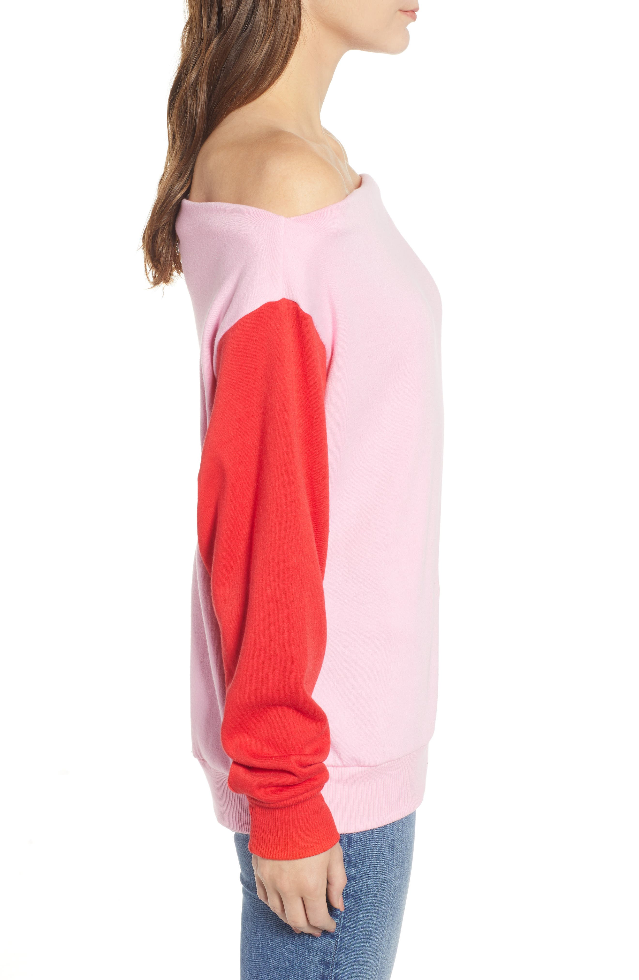 Colorblock Fleece Sweatshirt,                             Alternate thumbnail 3, color,                             PINK PRISM
