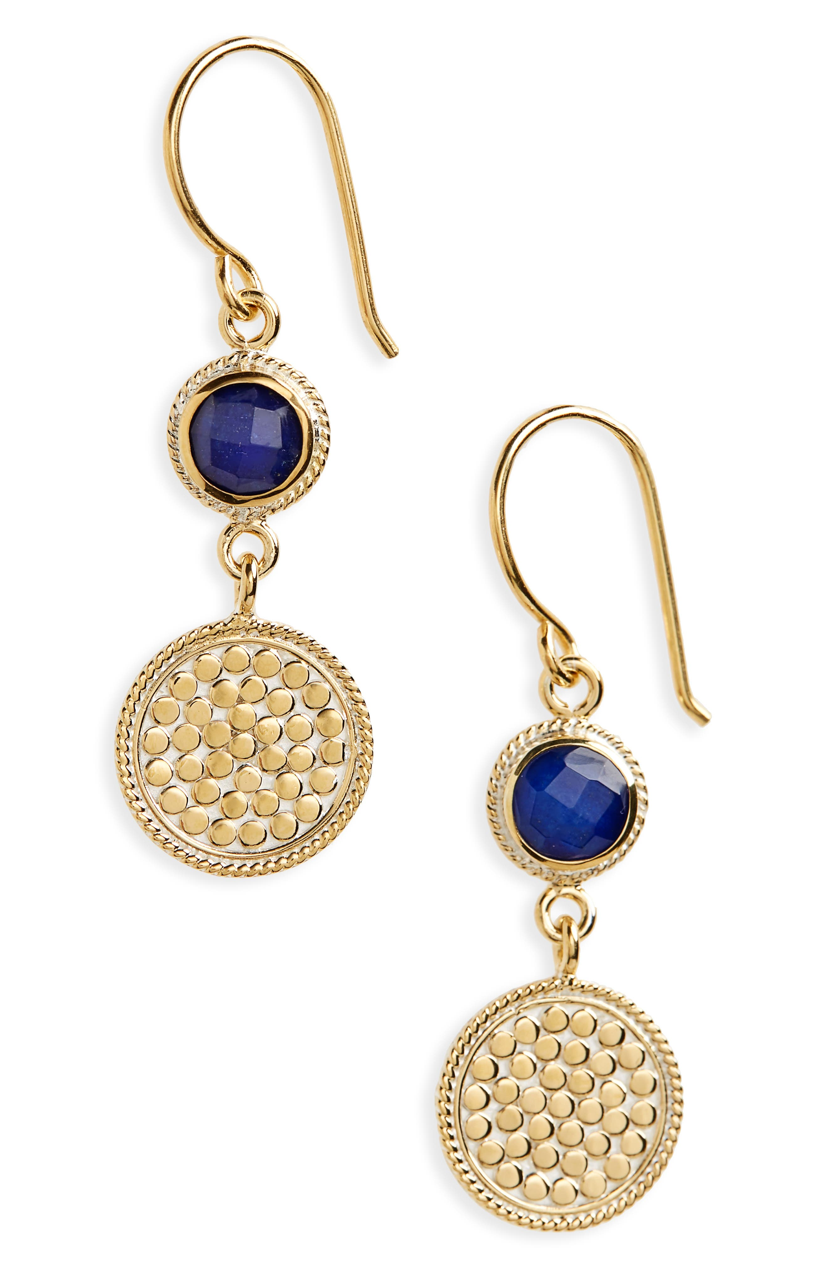 Semiprecious Stone Double Drop Earrings,                             Main thumbnail 1, color,                             BLUE LAPIS