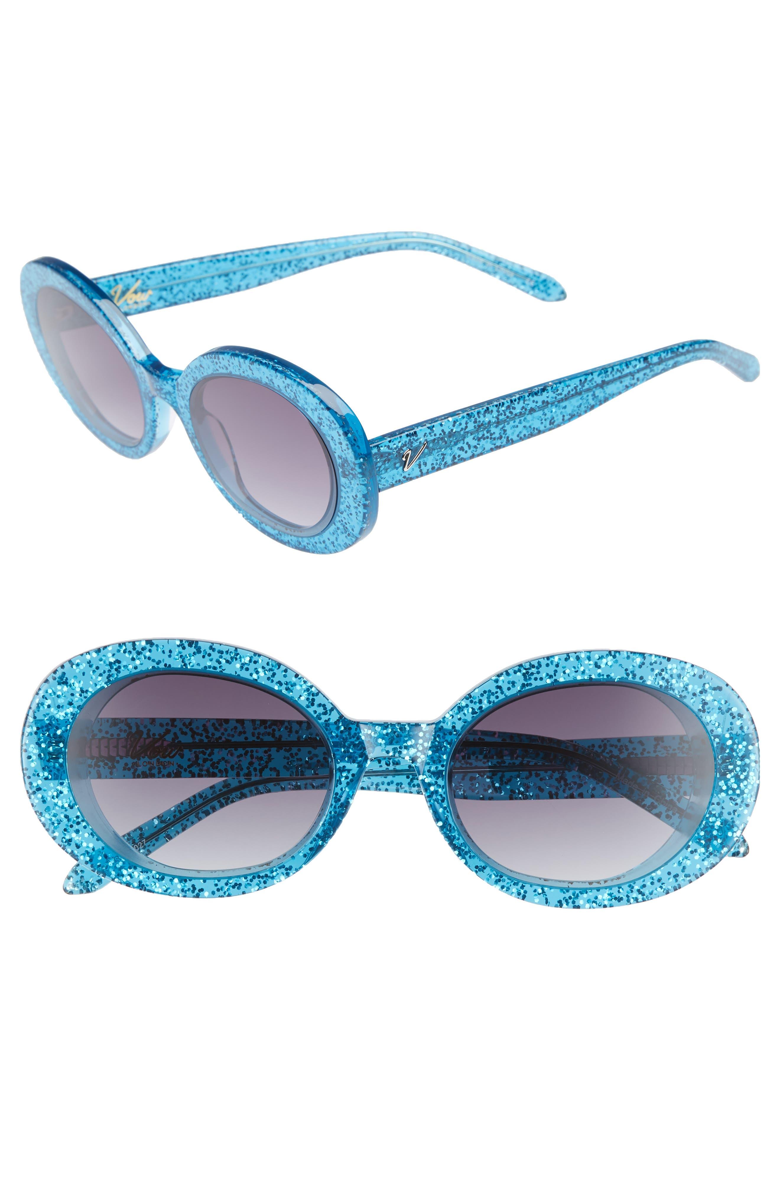 Selena 53mm Oval Sunglasses,                             Main thumbnail 1, color,                             BLUE GLITTER/ SMOKE