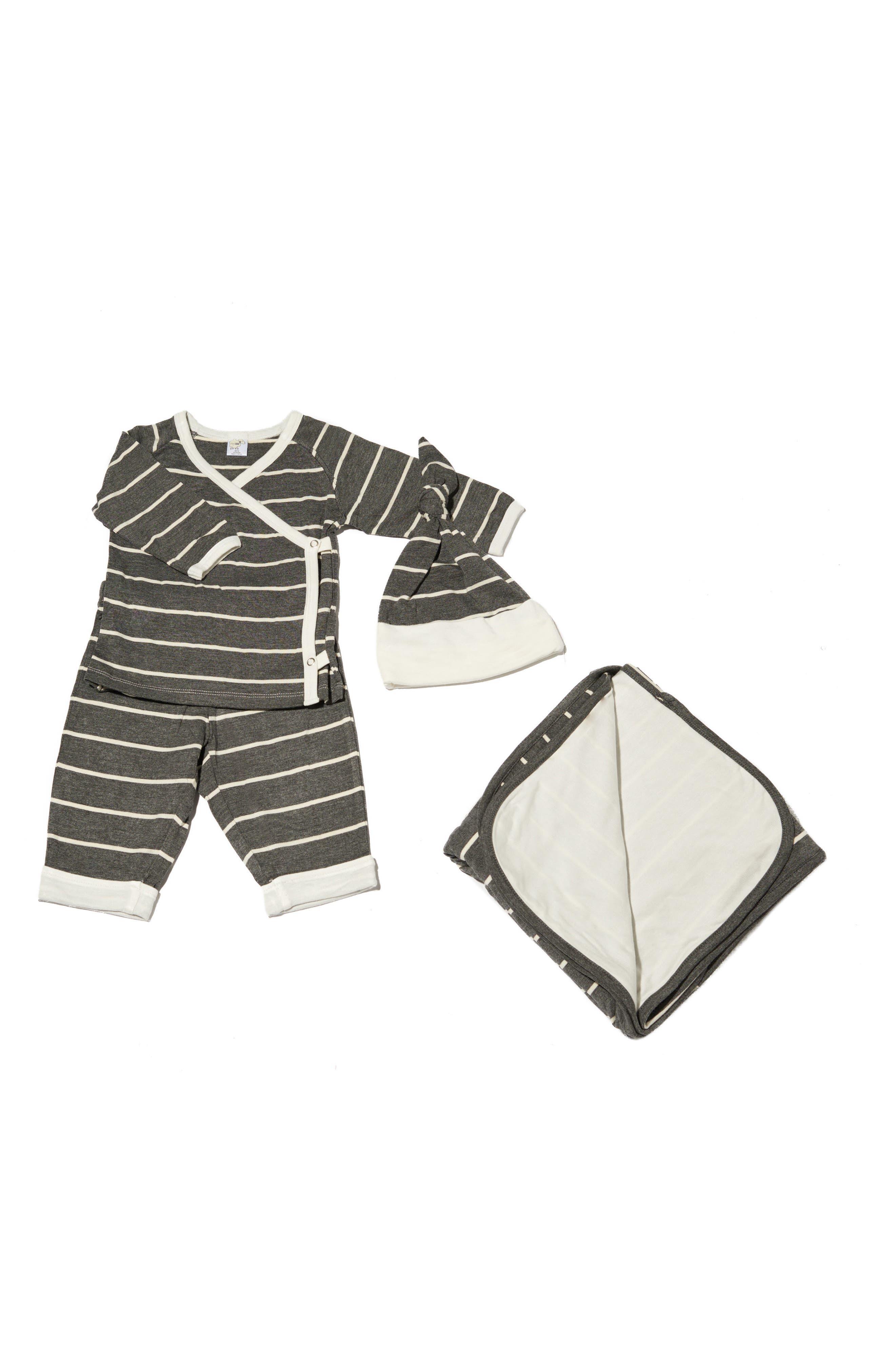 T-Shirt, Pants, Hat & Blanket Set,                             Main thumbnail 1, color,                             CHARCOAL