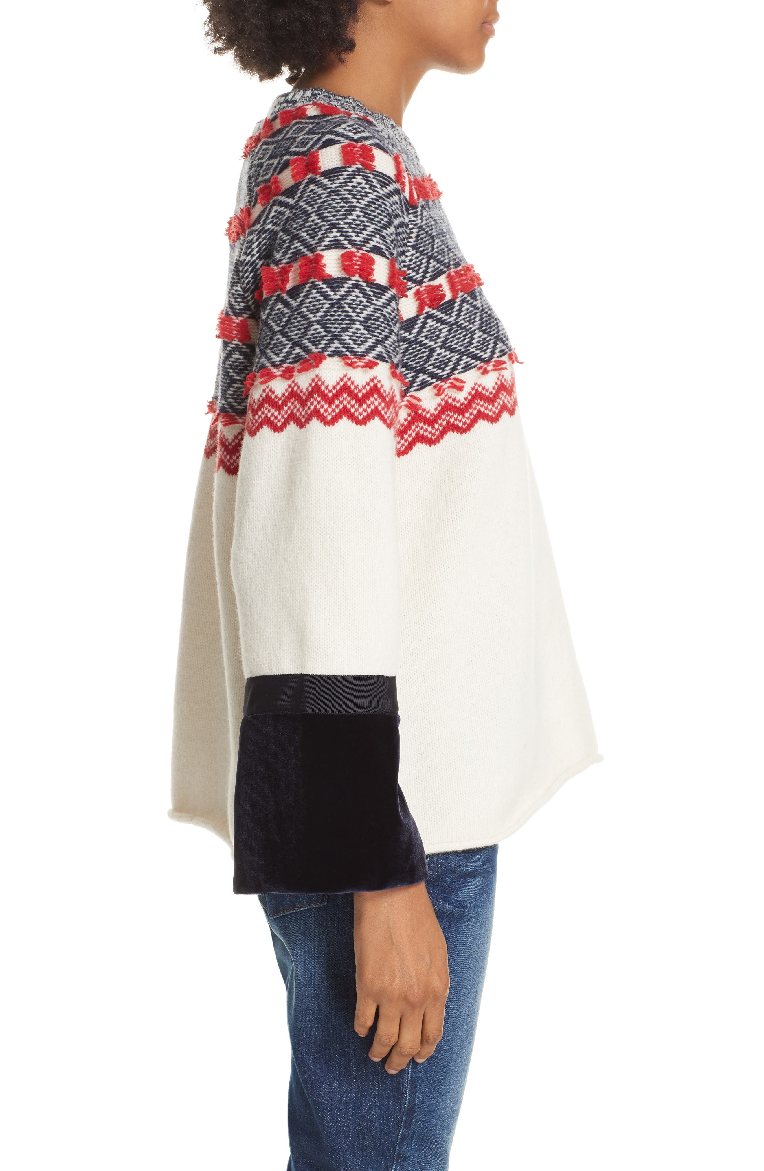 Fair Isle Mix Media Wool Blend Sweater,                             Alternate thumbnail 3, color,                             NAVY/ RED
