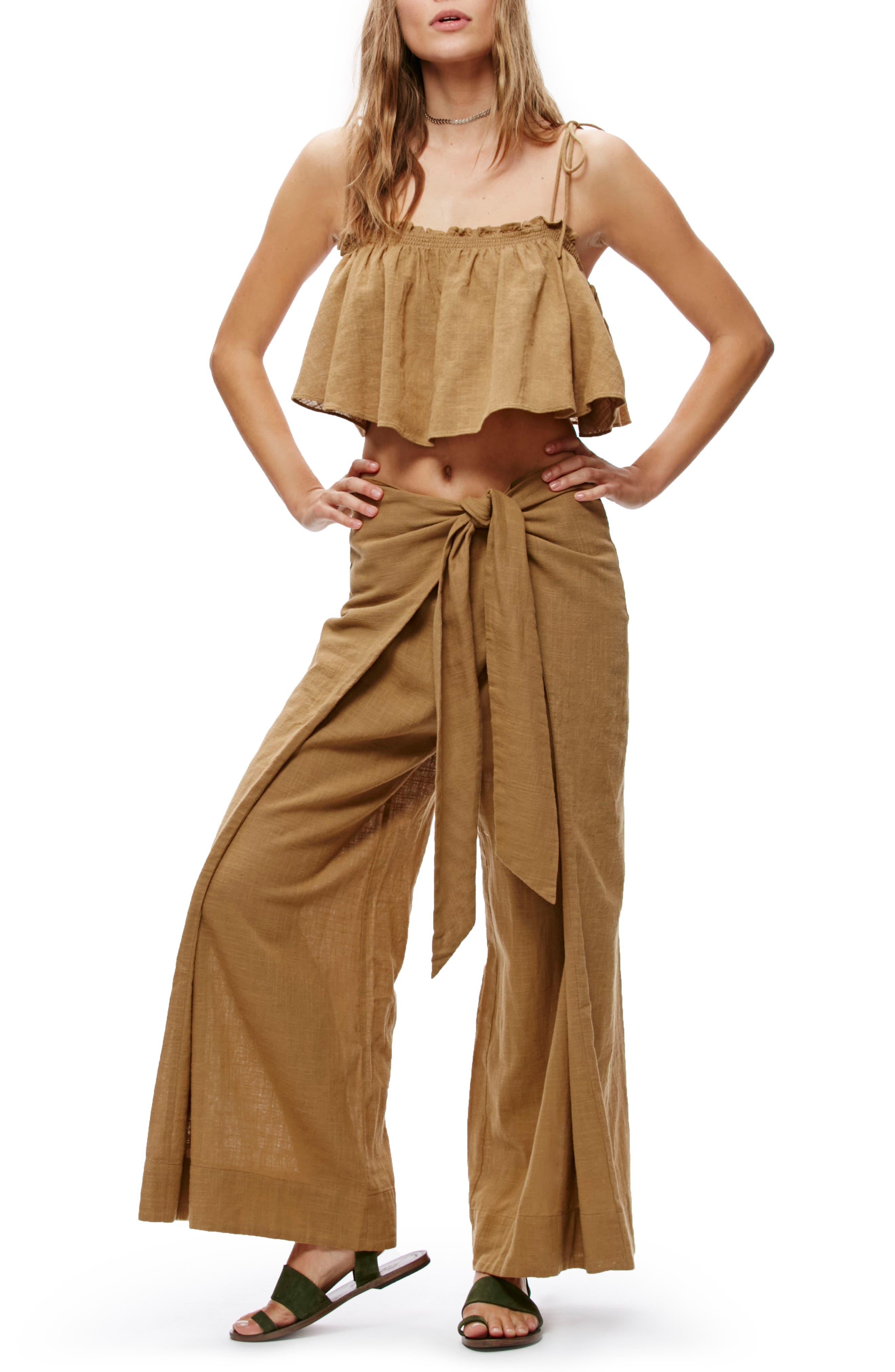 FREE PEOPLE,                             Tropic Babe Crop Top & High Waist Pants Set,                             Alternate thumbnail 5, color,                             203