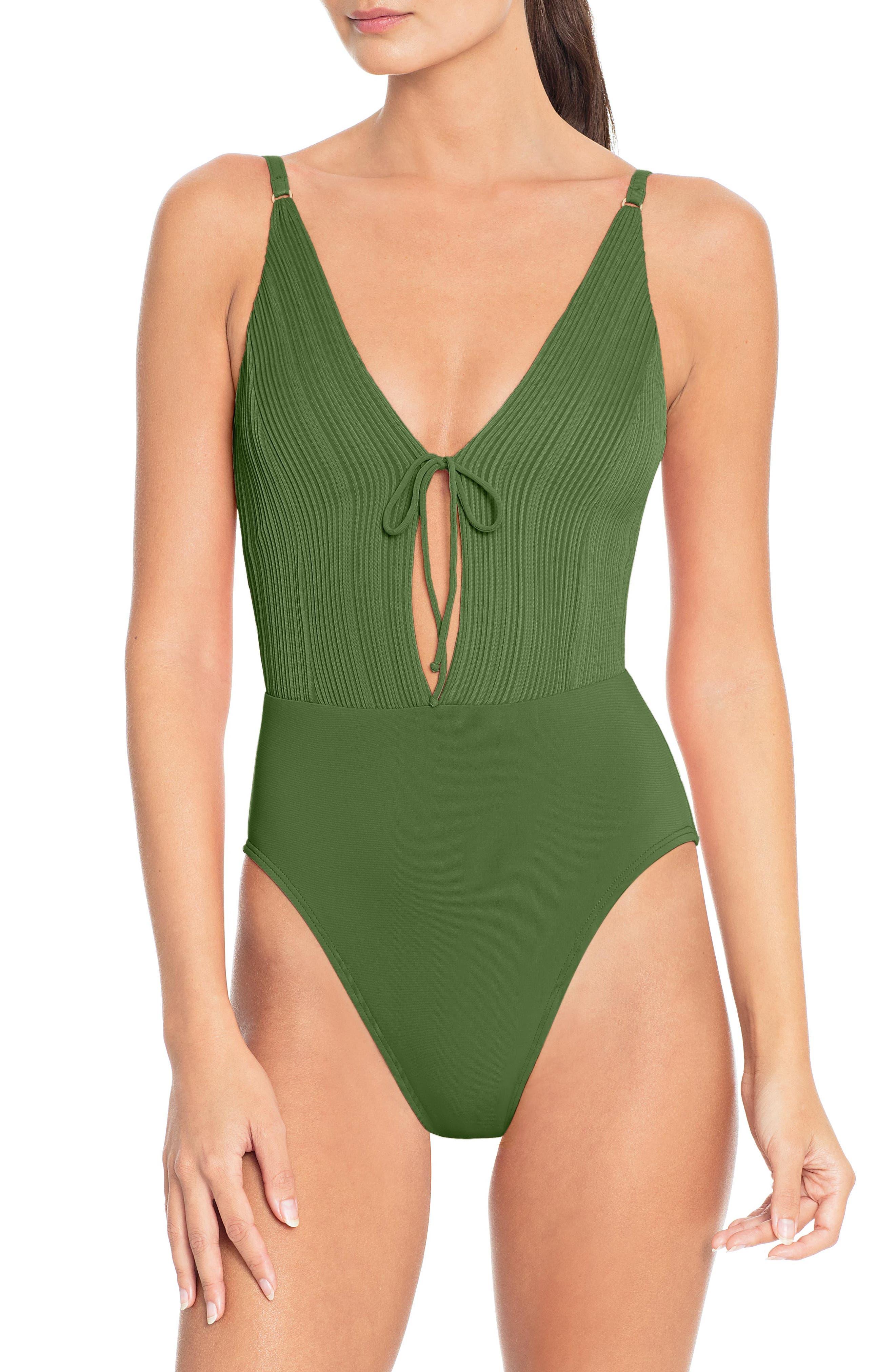 Tie Front One-Piece Swimsuit,                         Main,                         color, BASIL