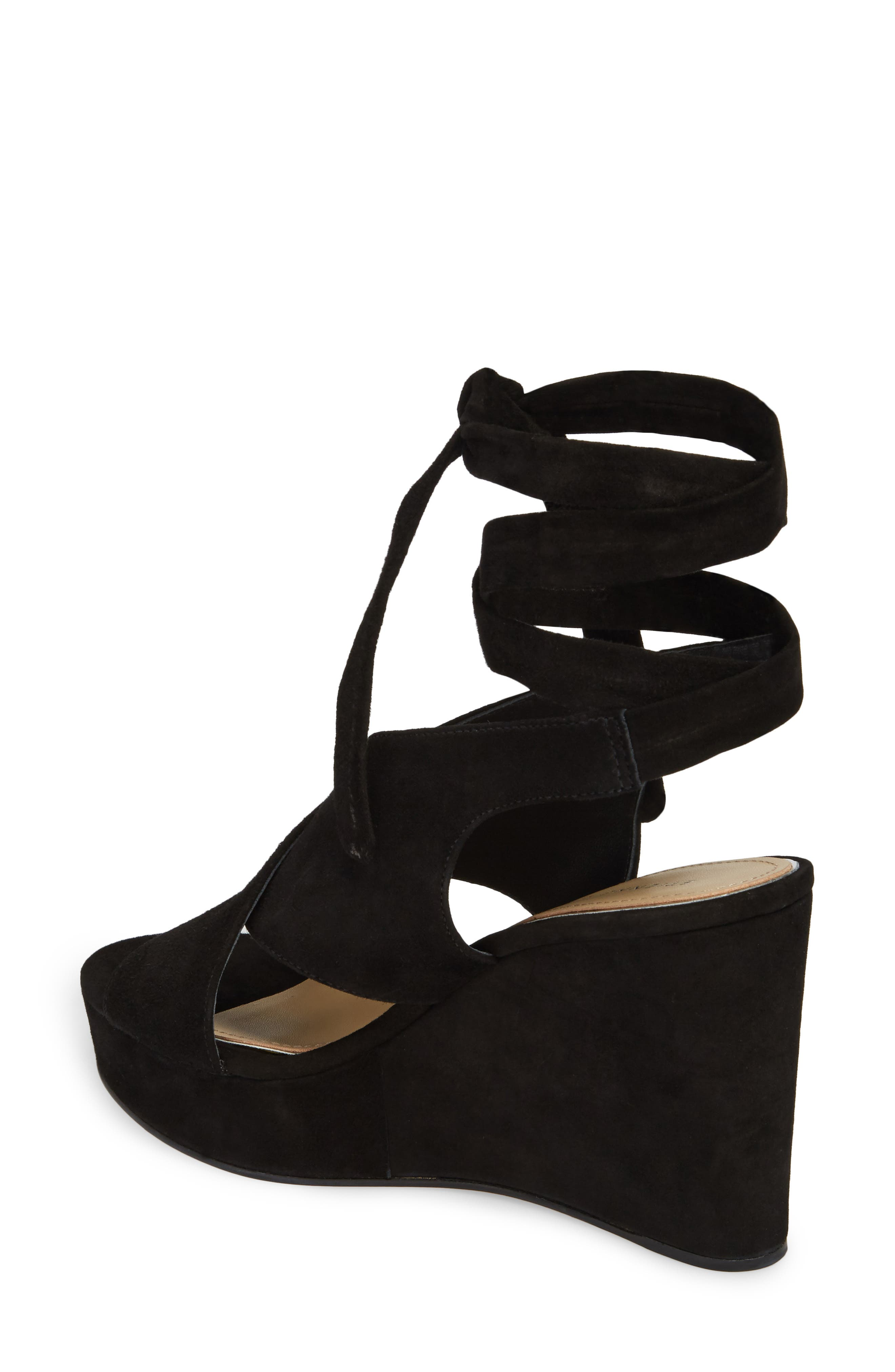 Dominica Platform Wedge Sandal,                             Alternate thumbnail 2, color,                             BLACK SUEDE