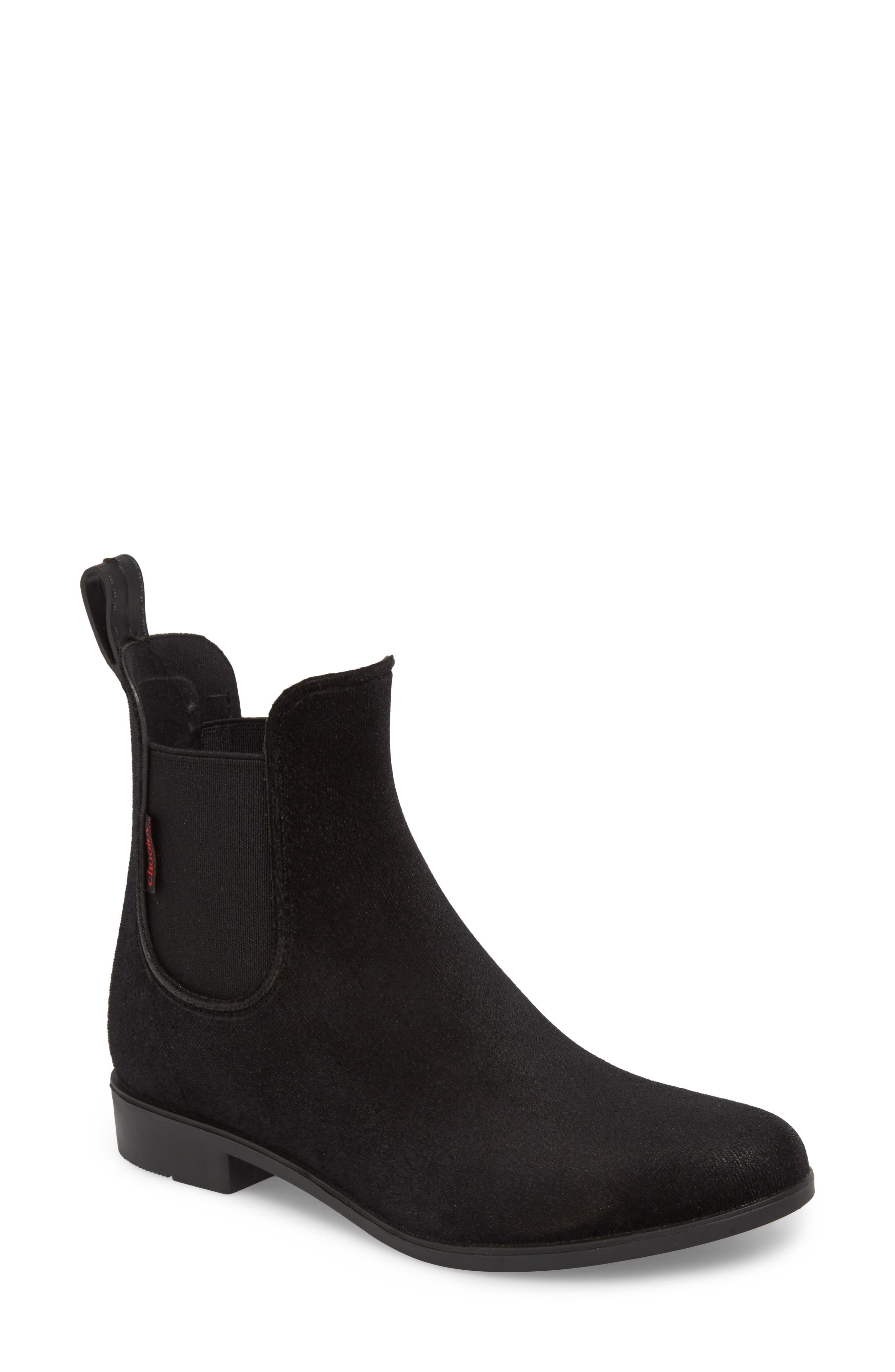 Waterproof Velvet Chelsea Waterproof Rain Boot,                         Main,                         color, BLACK