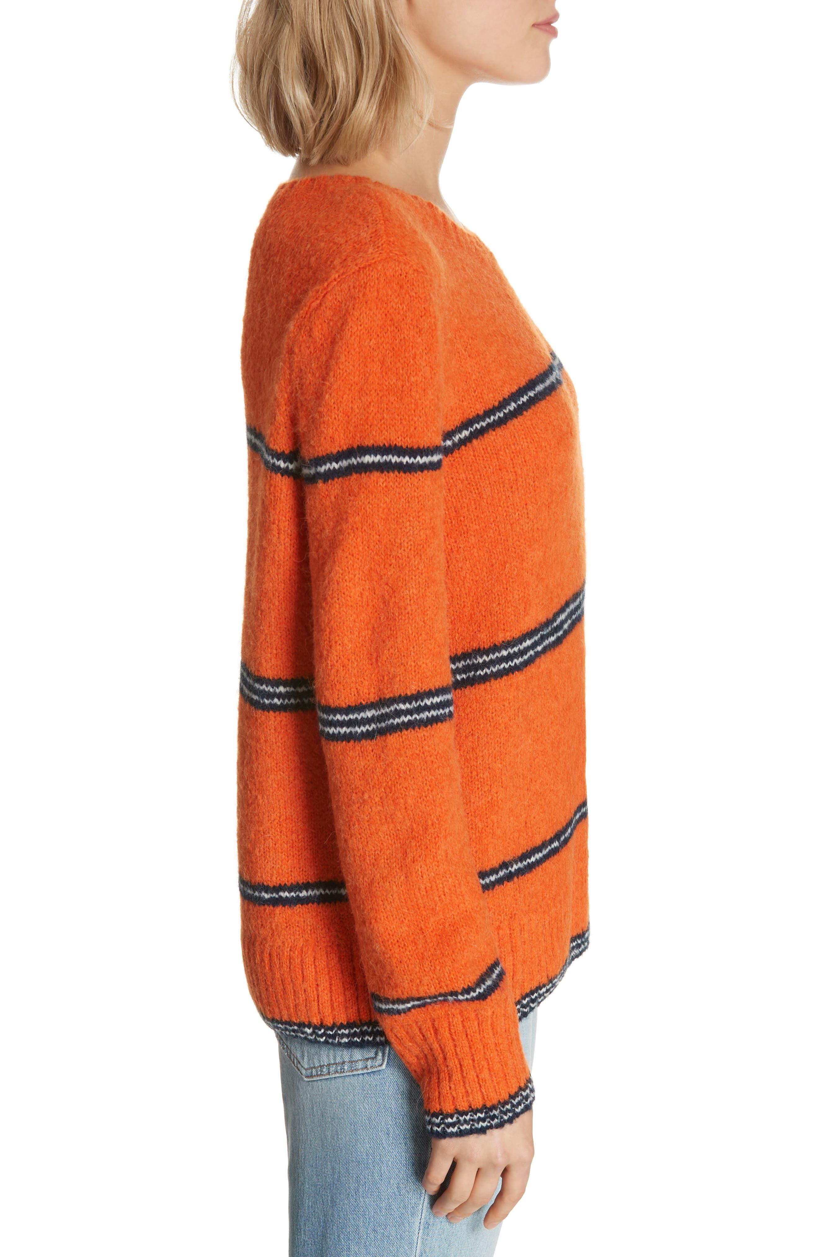 FRAME,                             Stripe Sweater,                             Alternate thumbnail 3, color,                             PERSIMMON MULTI
