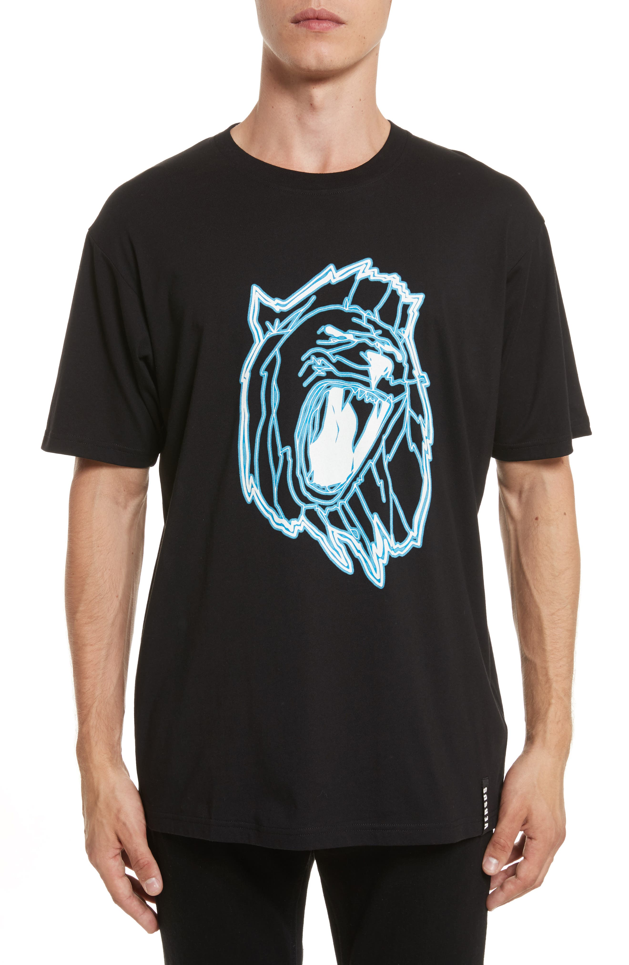 VERSUS by Versace Electric Lion Graphic T-Shirt,                             Main thumbnail 1, color,                             005