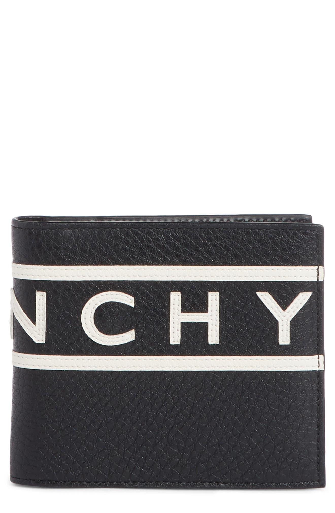 GIVENCHY Logo Calfskin Leather Wallet, Main, color, BLACK