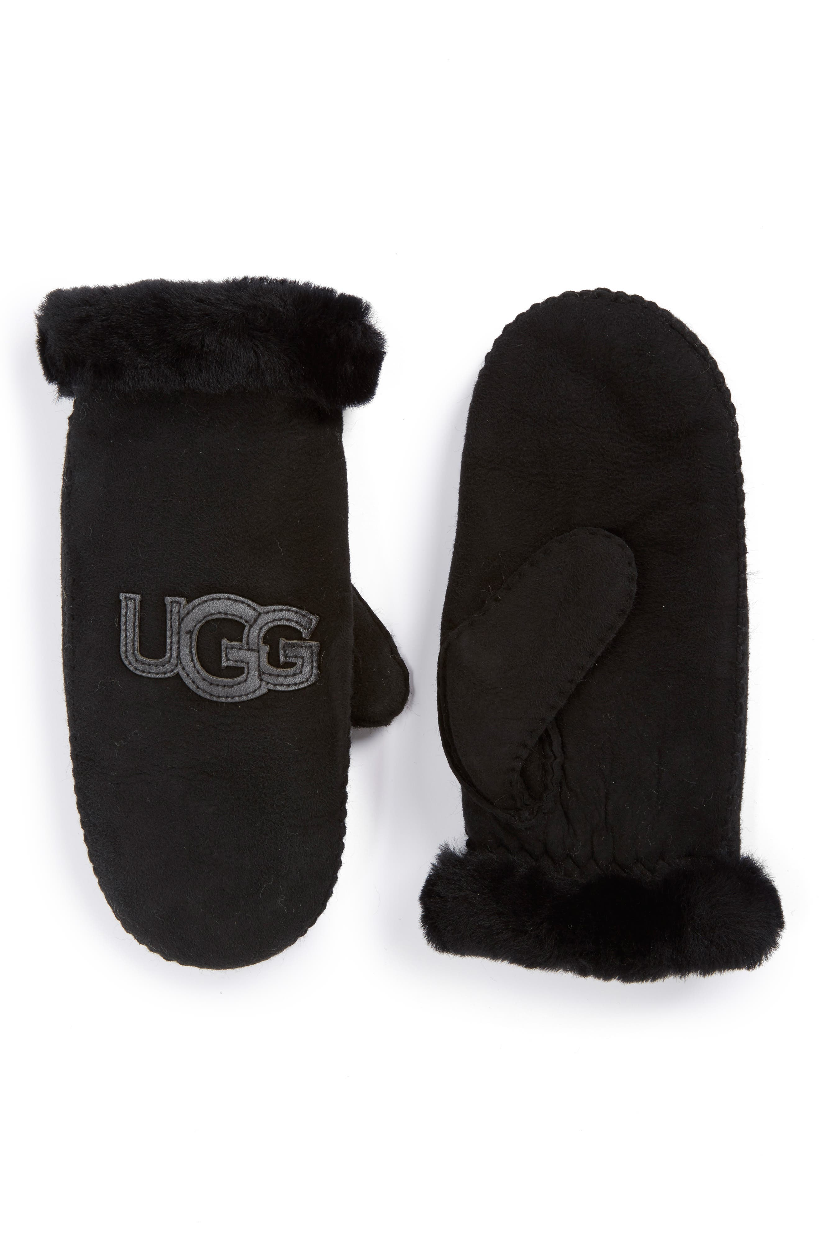 UGG<SUP>®</SUP>,                             Australia 'Heritage Logo' Genuine Shearling & Suede Mittens,                             Alternate thumbnail 2, color,                             001