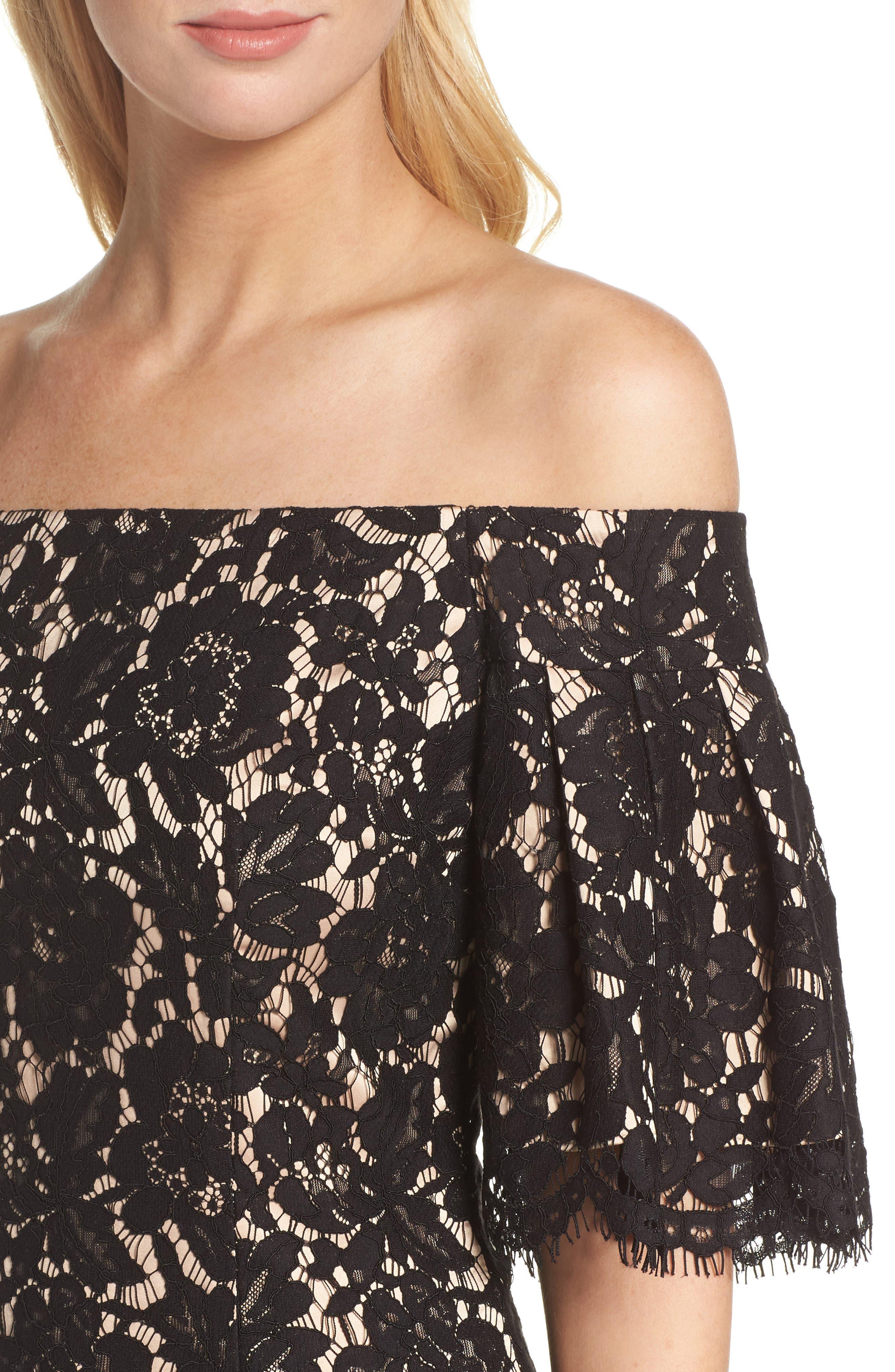 Flounce Sleeve Off the Shoulder Lace Sheath Dress,                             Alternate thumbnail 4, color,                             001