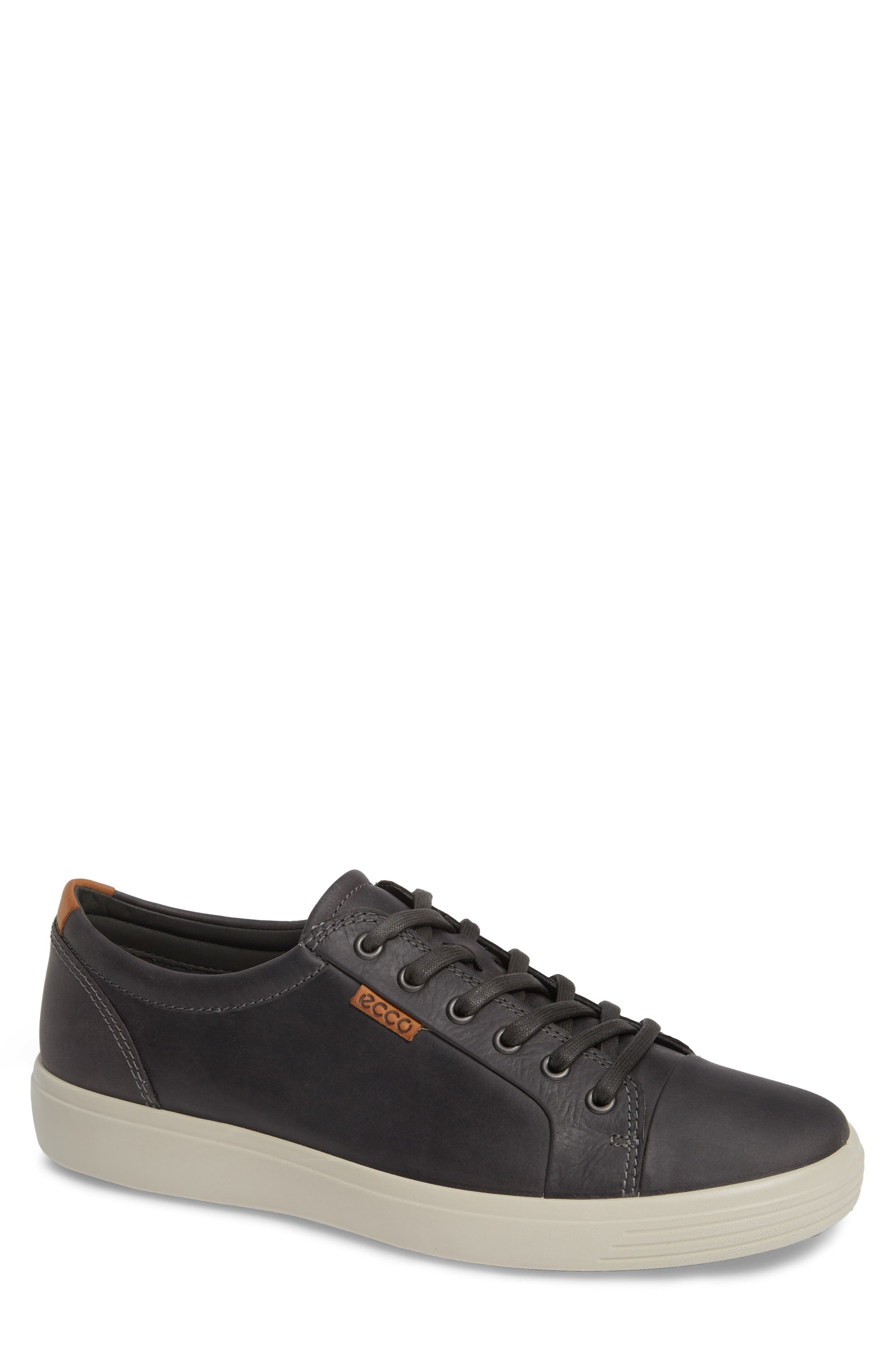 ECCO,                             Soft VII Lace-Up Sneaker,                             Main thumbnail 1, color,                             GREY OILED NUBUCK