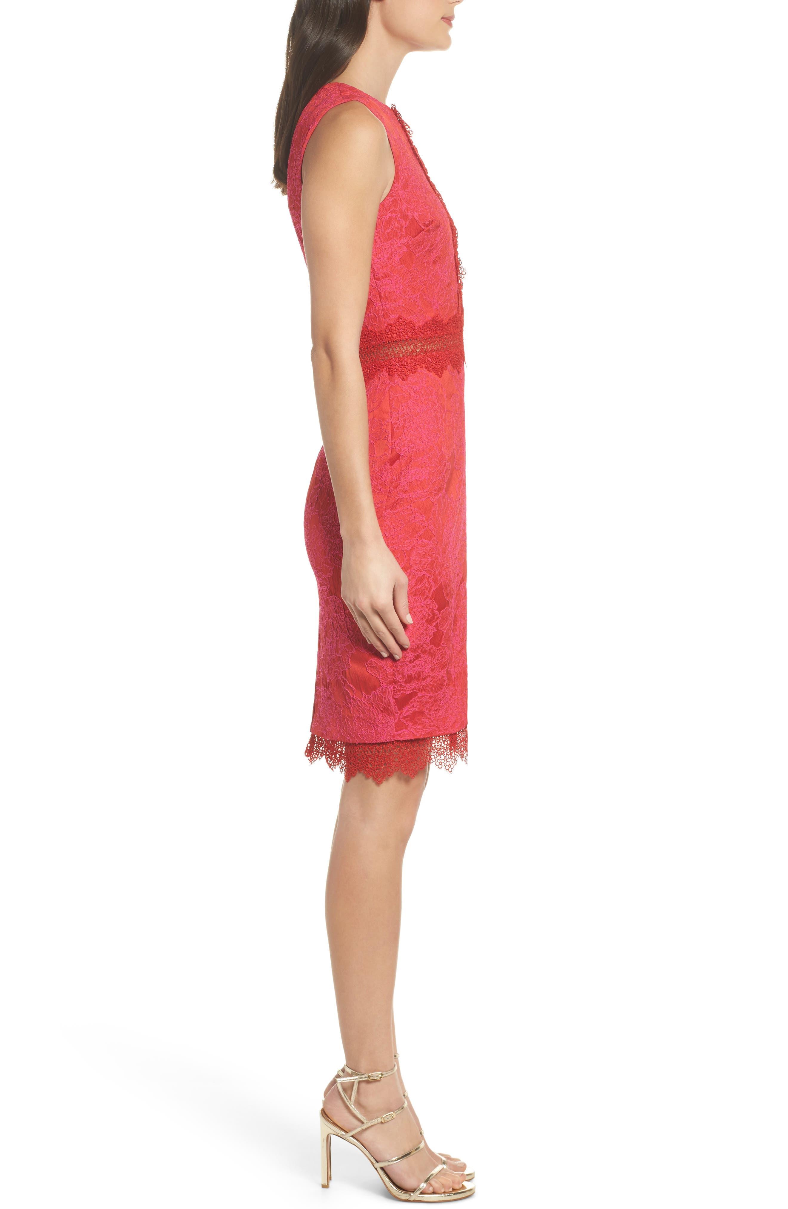 Lace Panel Sheath Dress,                             Alternate thumbnail 3, color,                             640