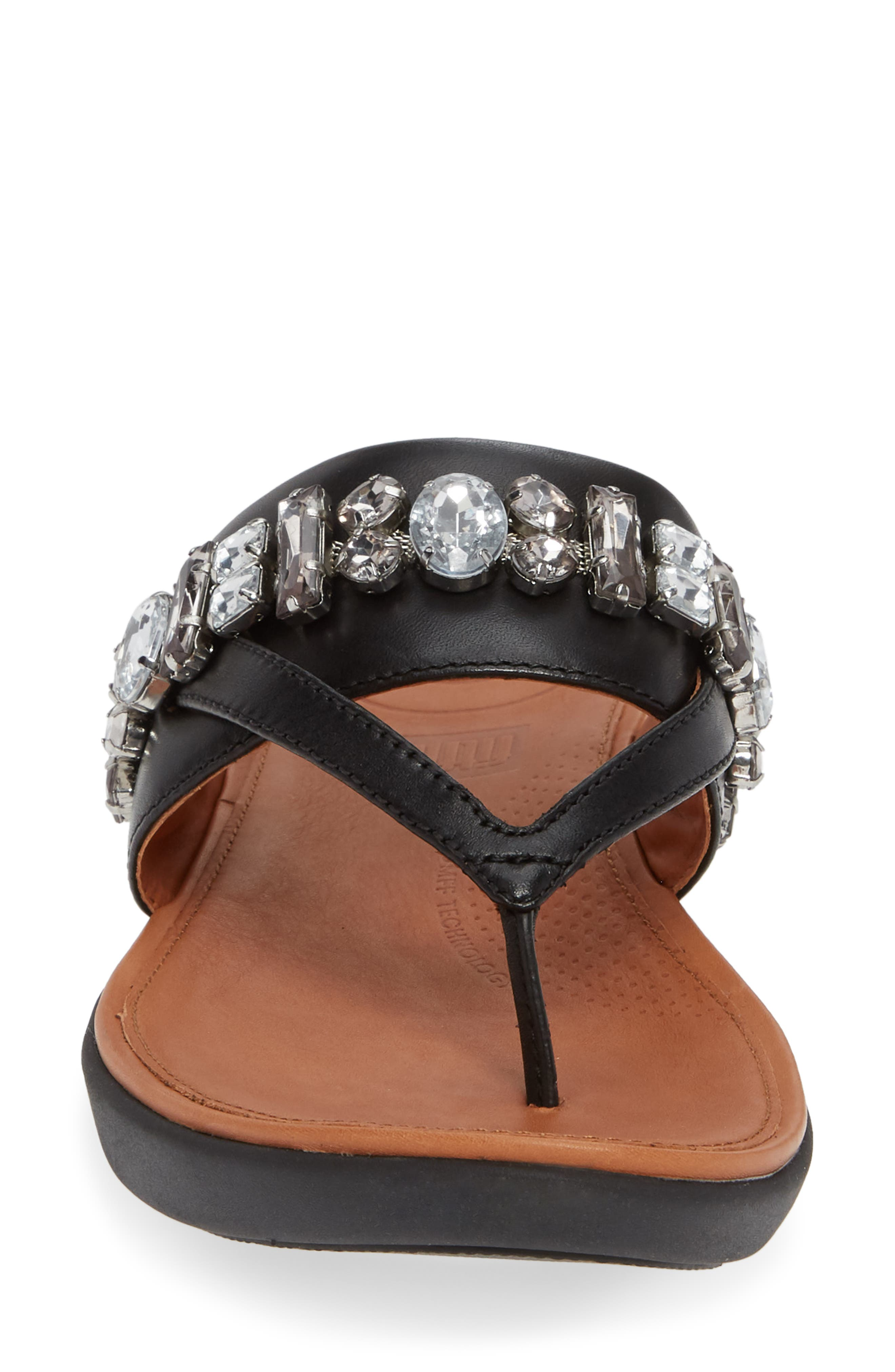 Delta Embellished Slide Sandal,                             Alternate thumbnail 4, color,                             001