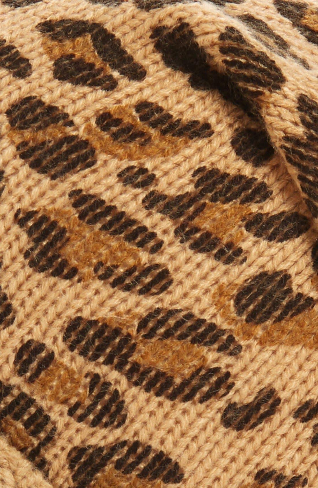 Leopard Print Slouchy Beanie,                             Alternate thumbnail 2, color,                             CAMEL