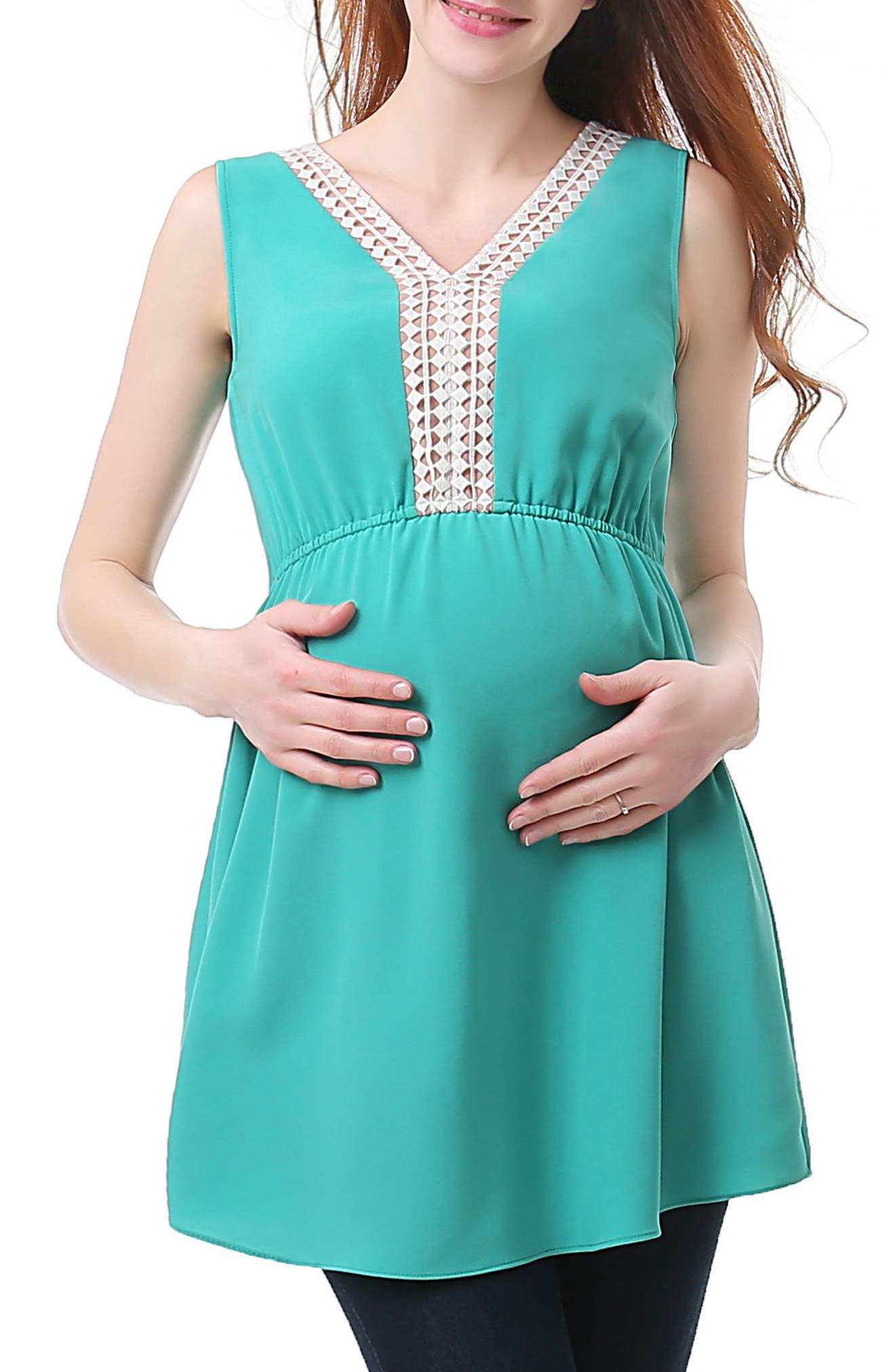 Darla Lace Inset Maternity Top,                             Main thumbnail 1, color,                             TEAL