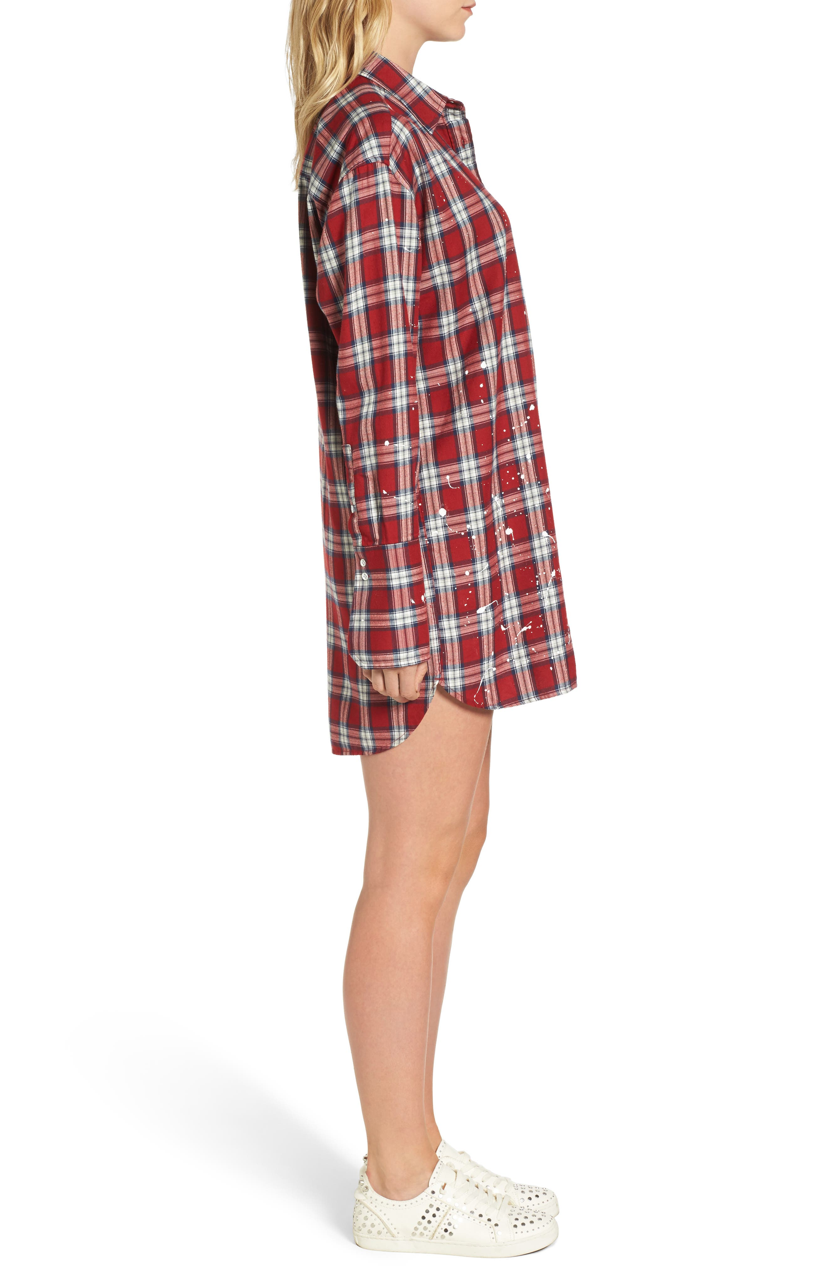 Rivington & Essex Plaid Shirtdress,                             Alternate thumbnail 3, color,                             609
