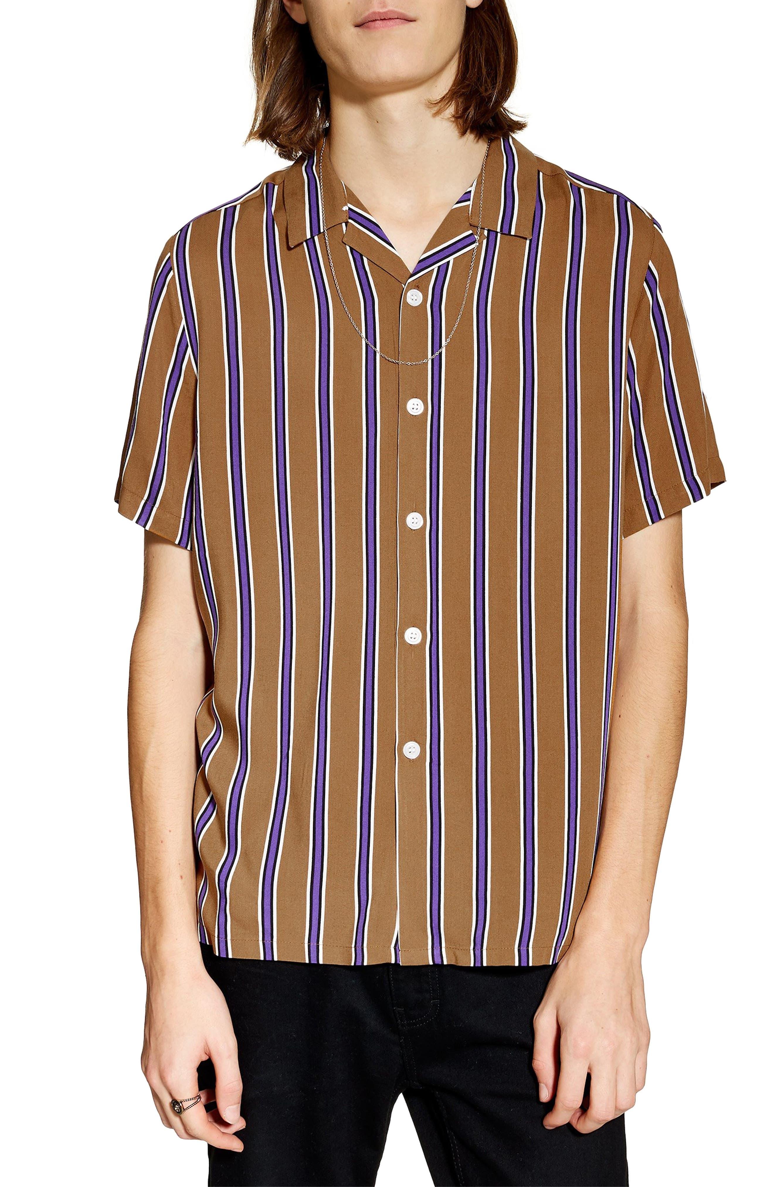 TOPMAN,                             Stripe Revere Collar Camp Shirt,                             Main thumbnail 1, color,                             BROWN MULTI