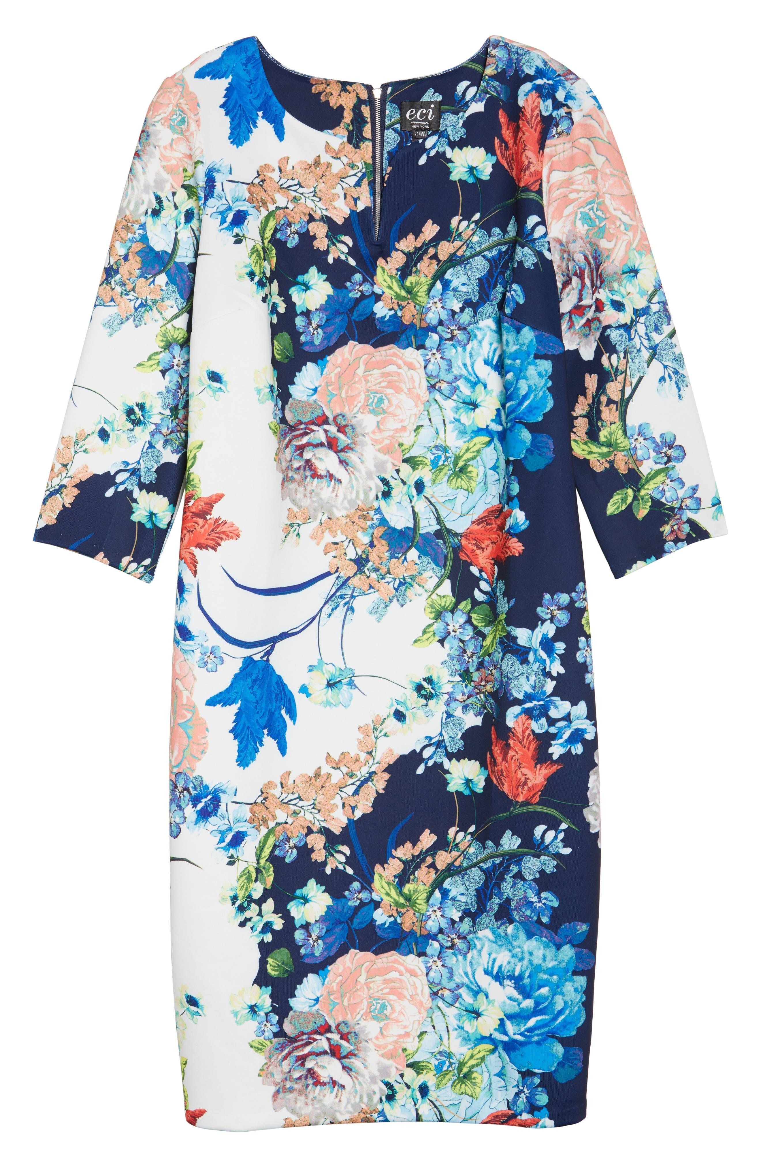Floral Jersey Sheath Dress,                             Alternate thumbnail 6, color,                             436