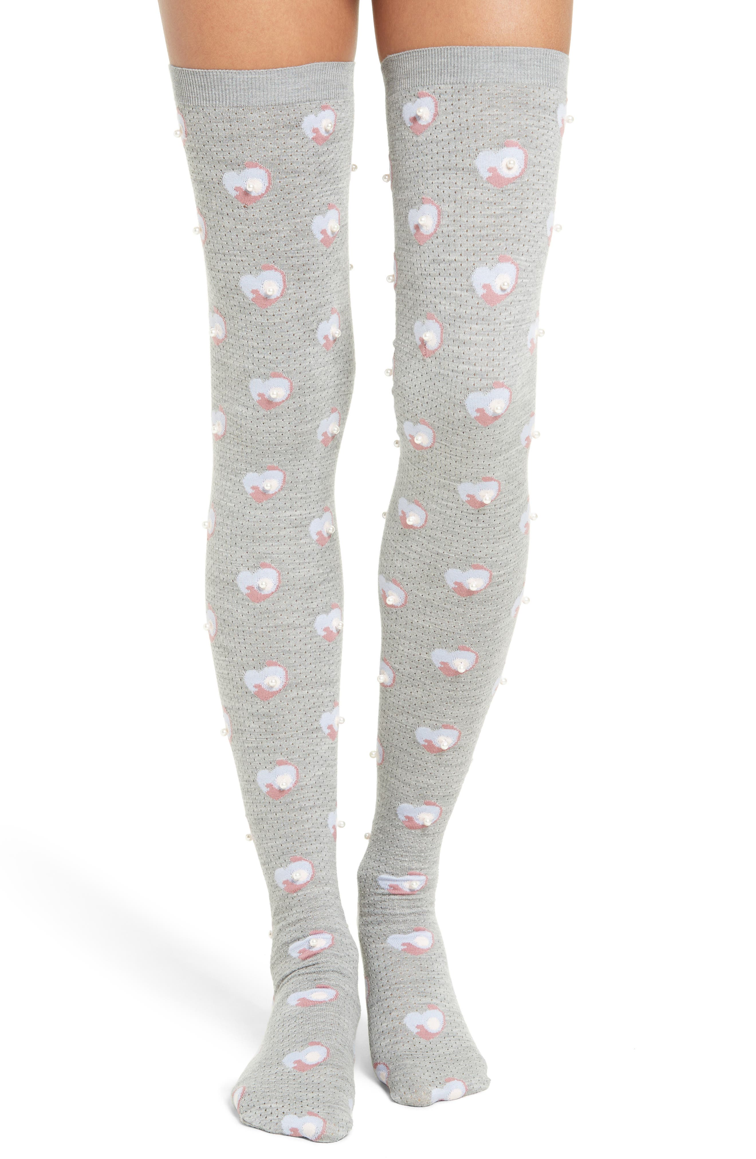 Embellished Thigh High Wool Socks, Main, color, 032