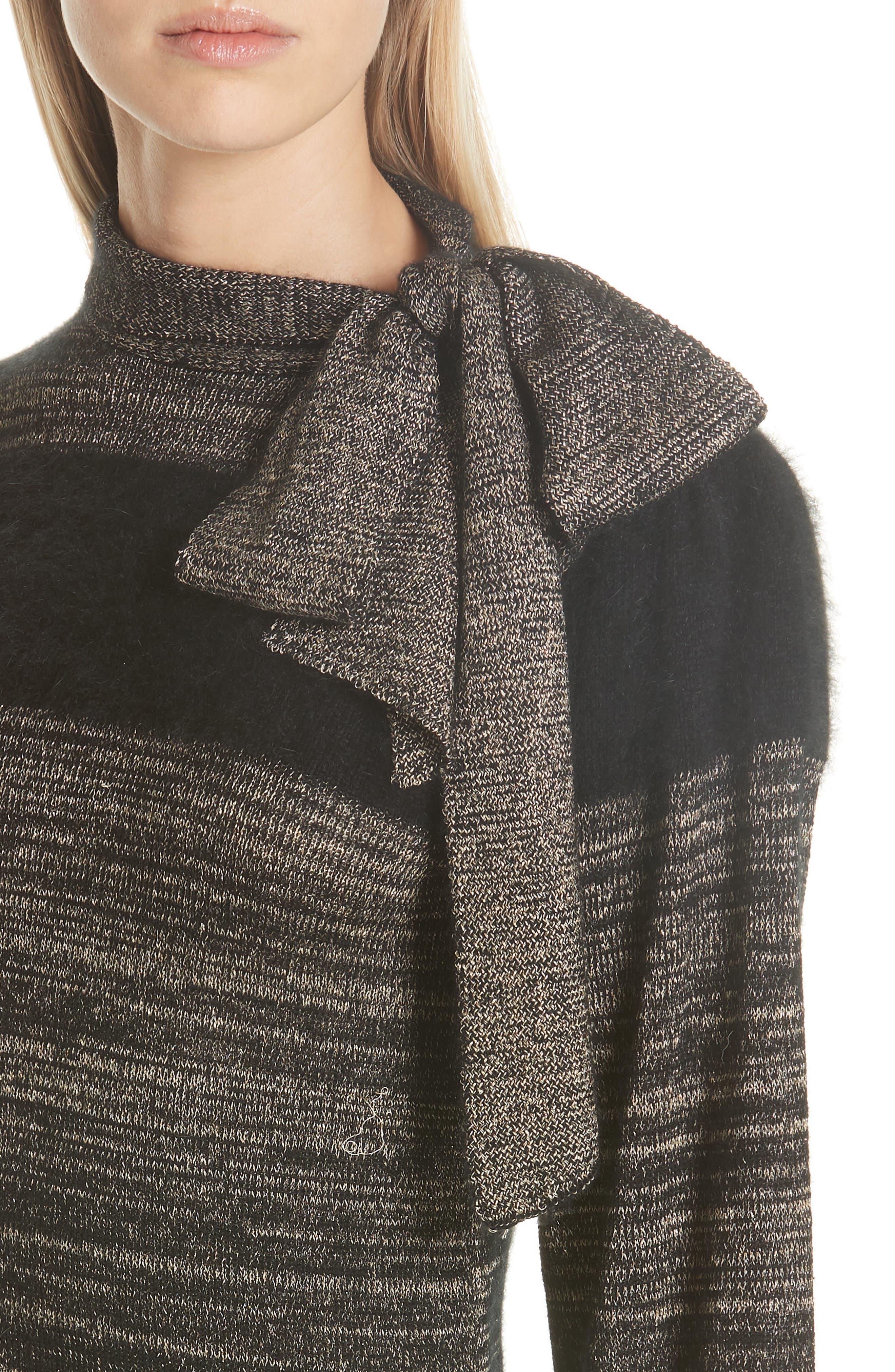 Fabia Tie Neck Cashmere Blend Sweater,                             Alternate thumbnail 4, color,                             NOIR