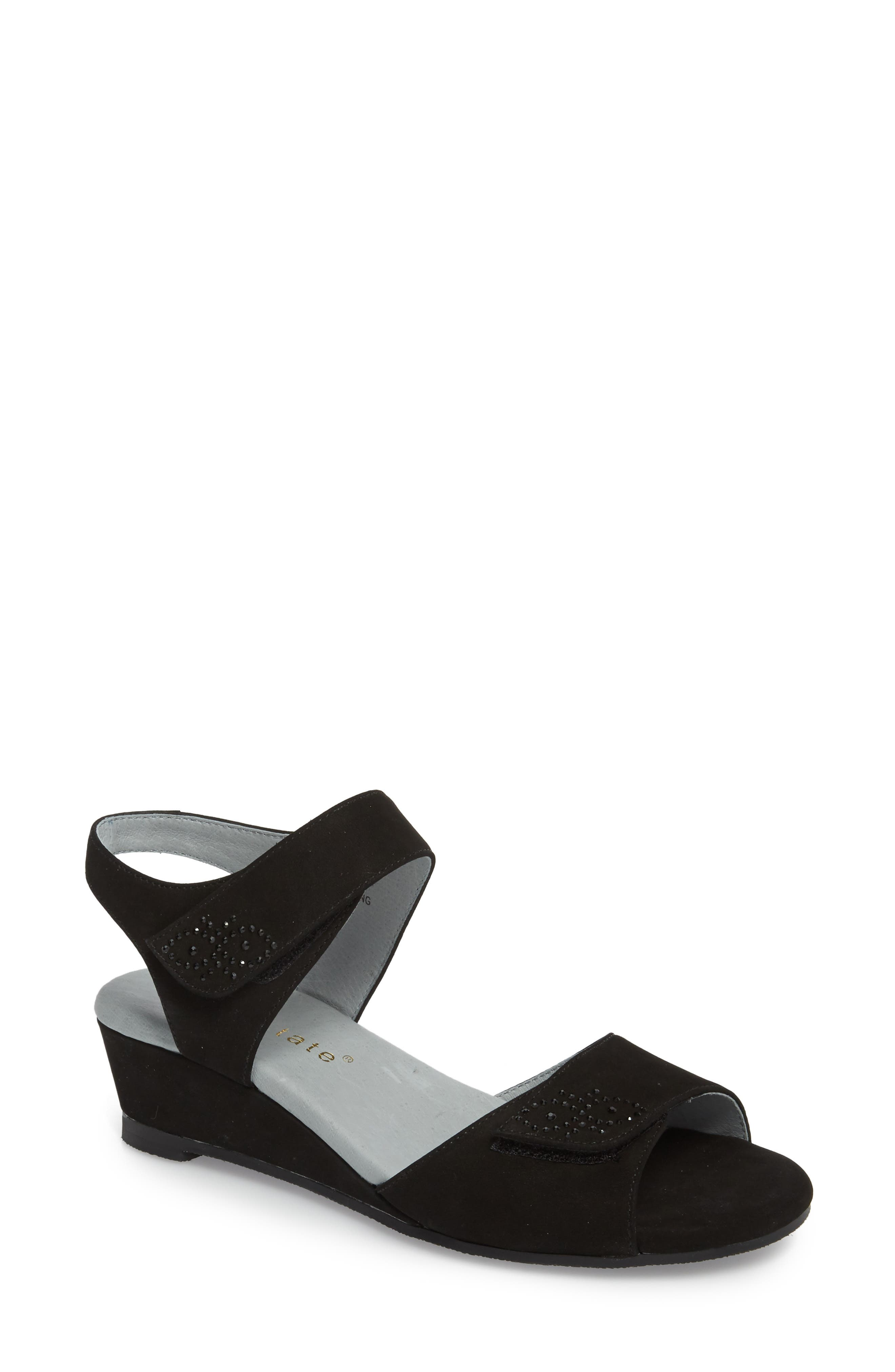 Queen Embellished Wedge Sandal,                             Main thumbnail 1, color,                             BLACK NUBUCK