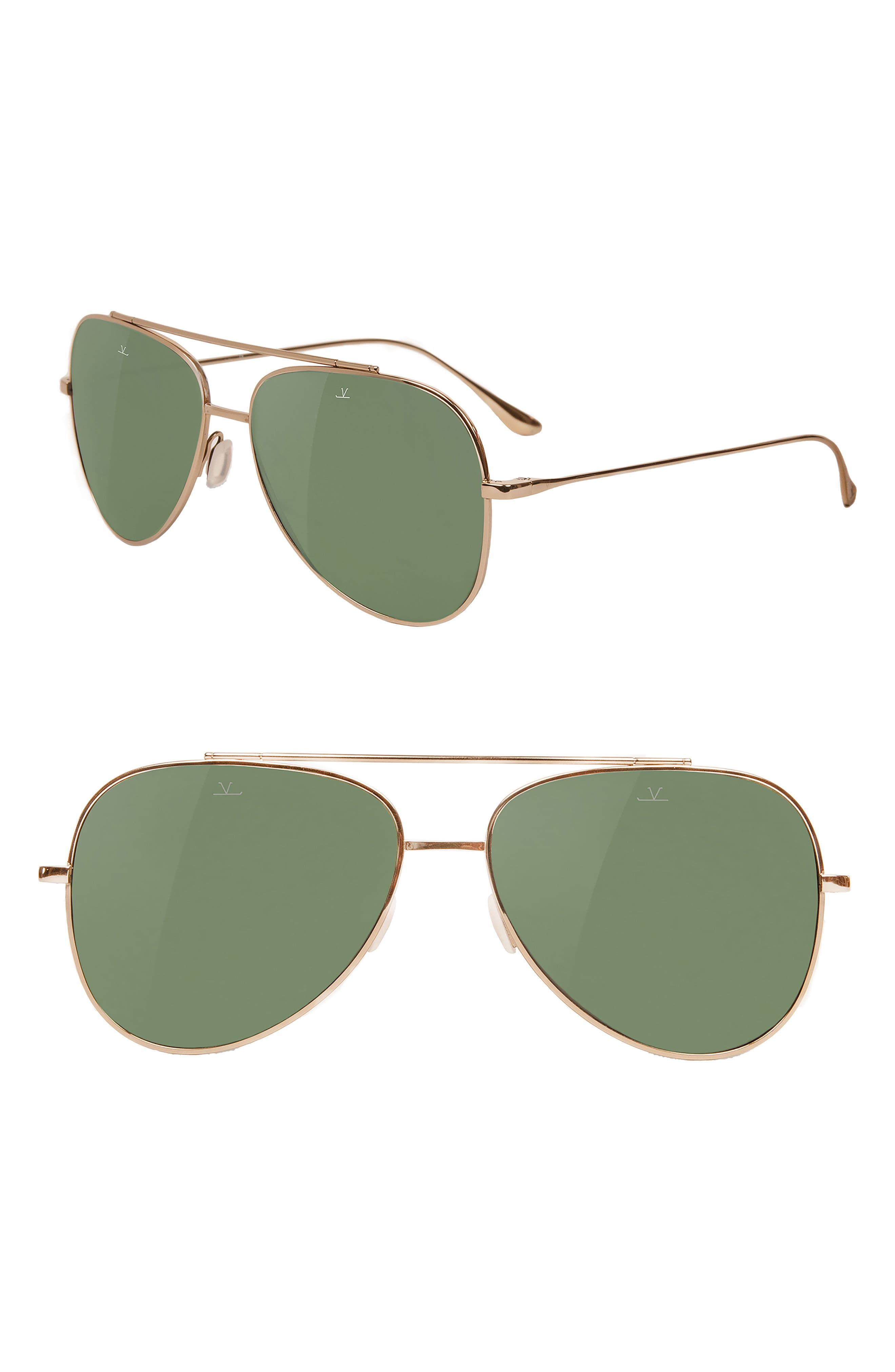 Swing 58mm Aviator Sunglasses,                             Main thumbnail 1, color,                             PURE GREY