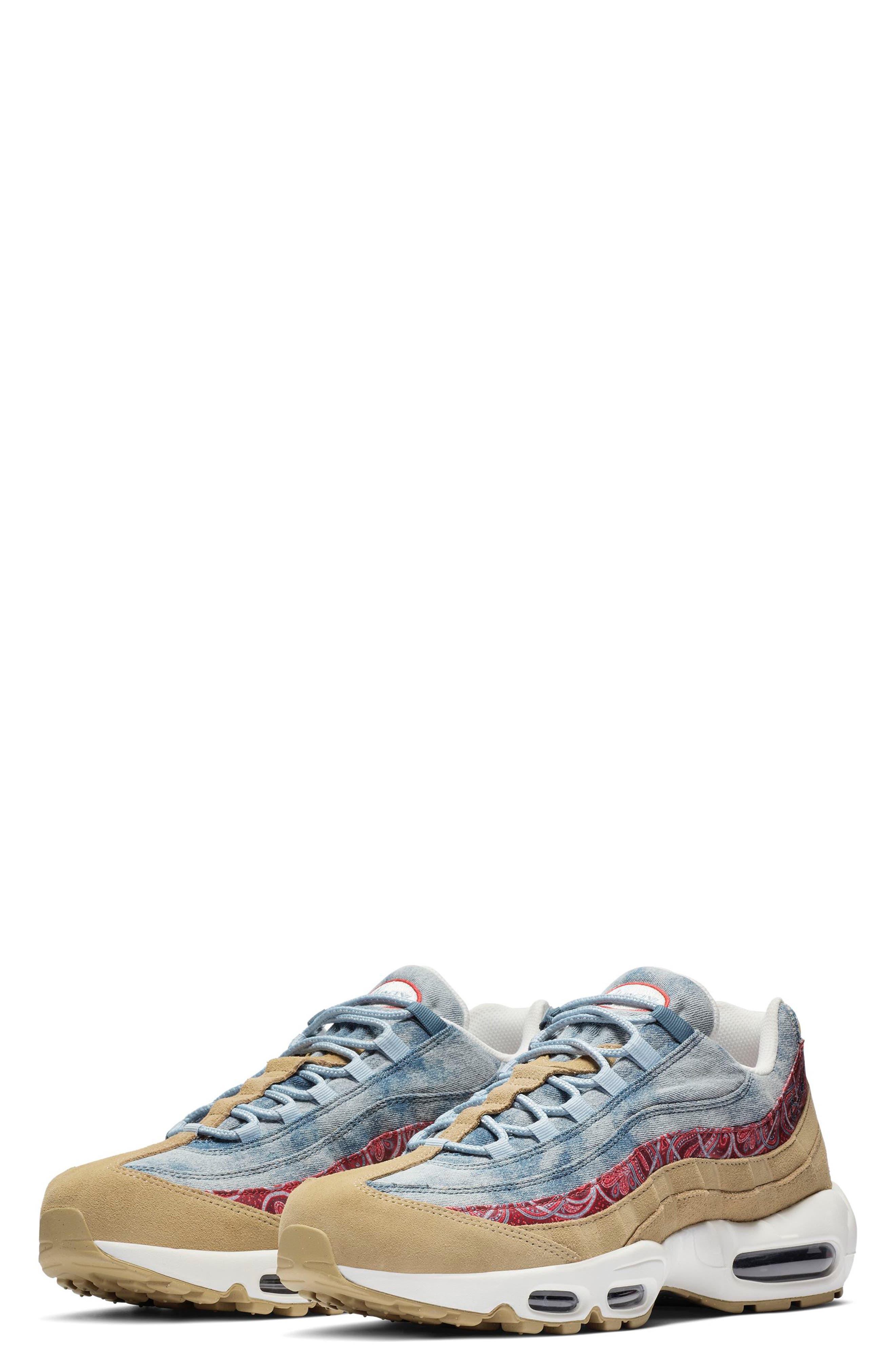 Air Max 95 Sneaker,                             Main thumbnail 1, color,                             PARACHUTE BEIGE/ RED