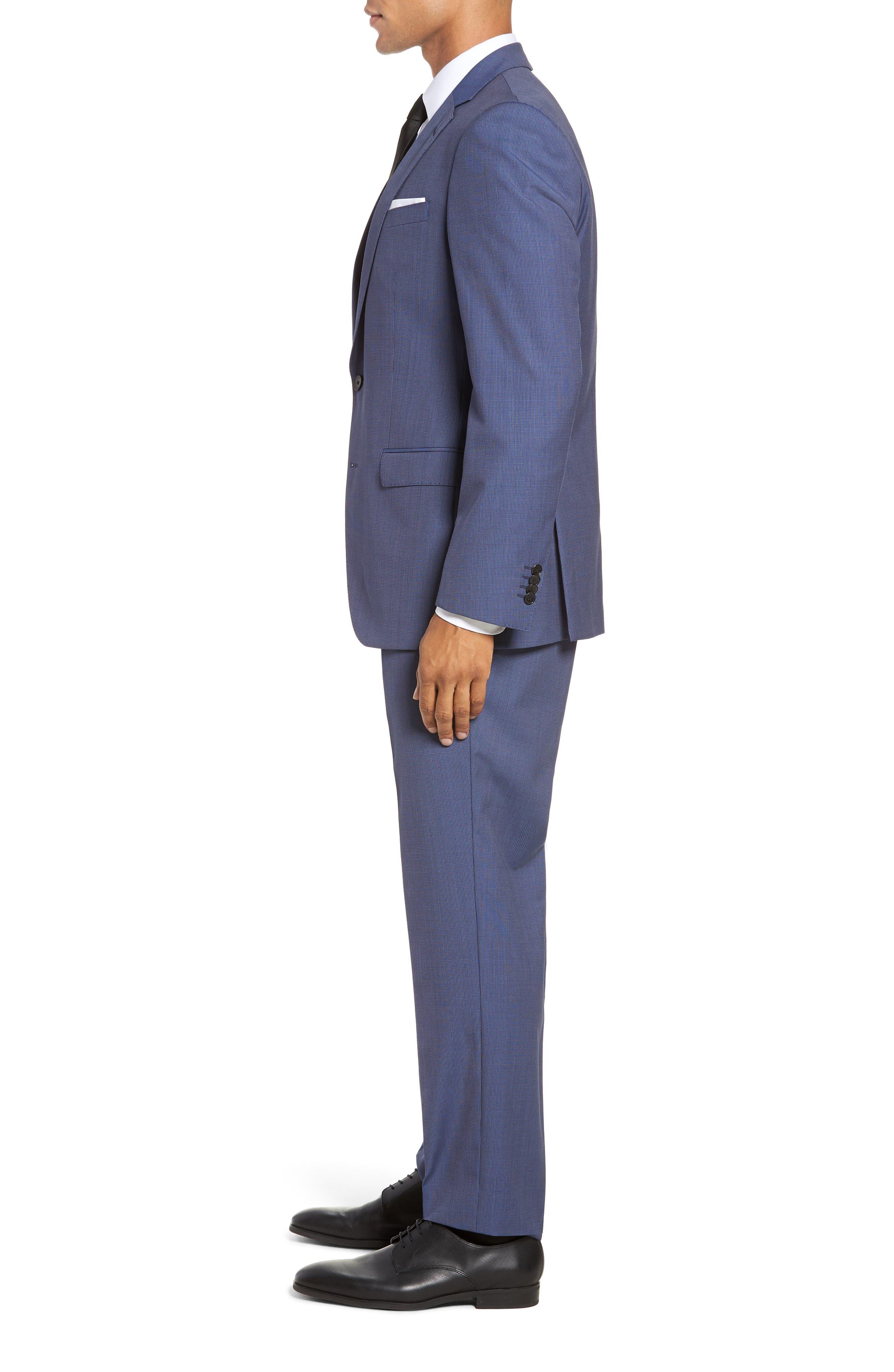 Huge/Genius Trim Fit Solid Three Piece Wool Suit,                             Alternate thumbnail 3, color,                             BLUE