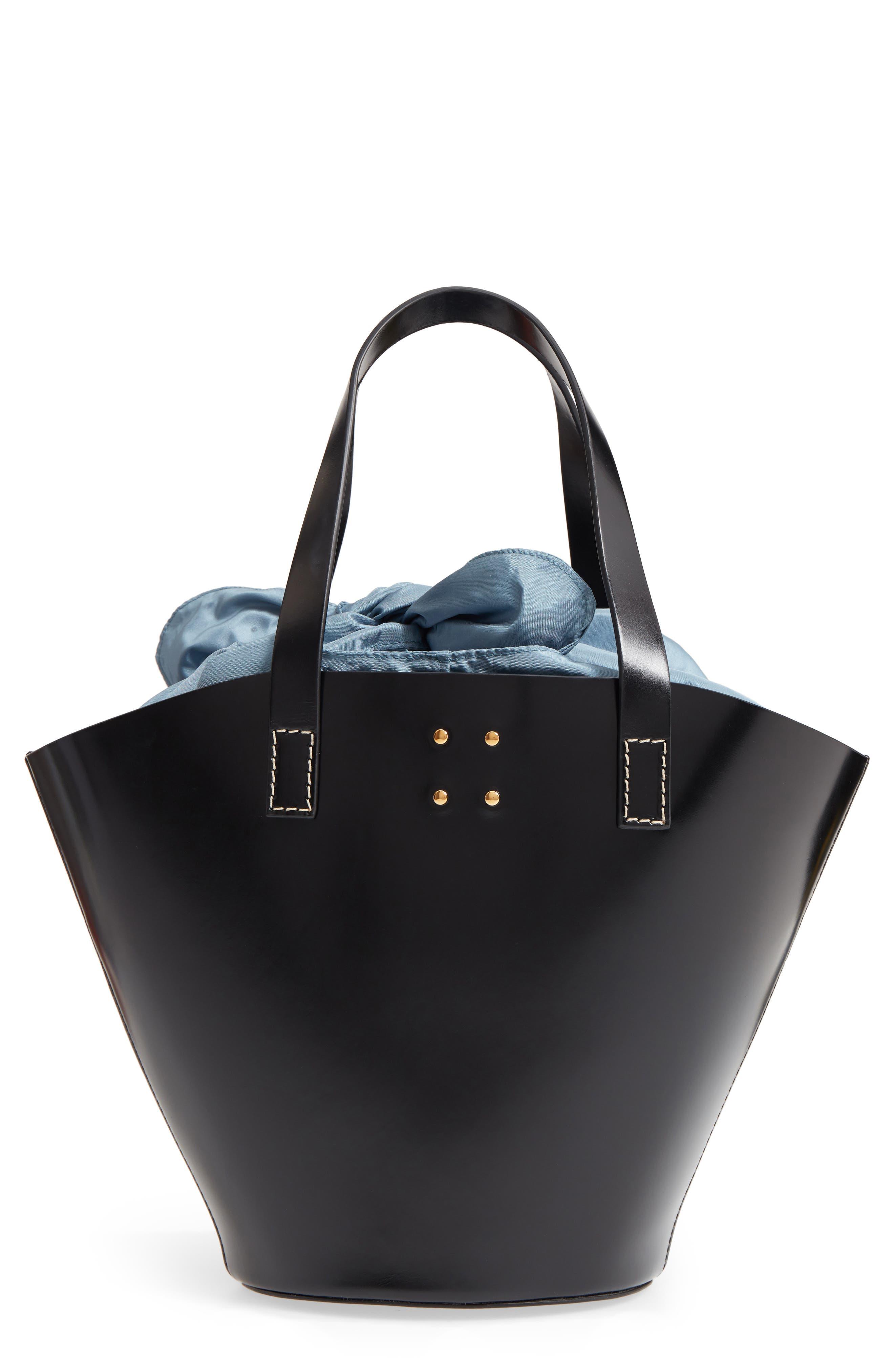 Large Leather Bucket Bag,                         Main,                         color, BLACK W/ ENGLISH BLUE