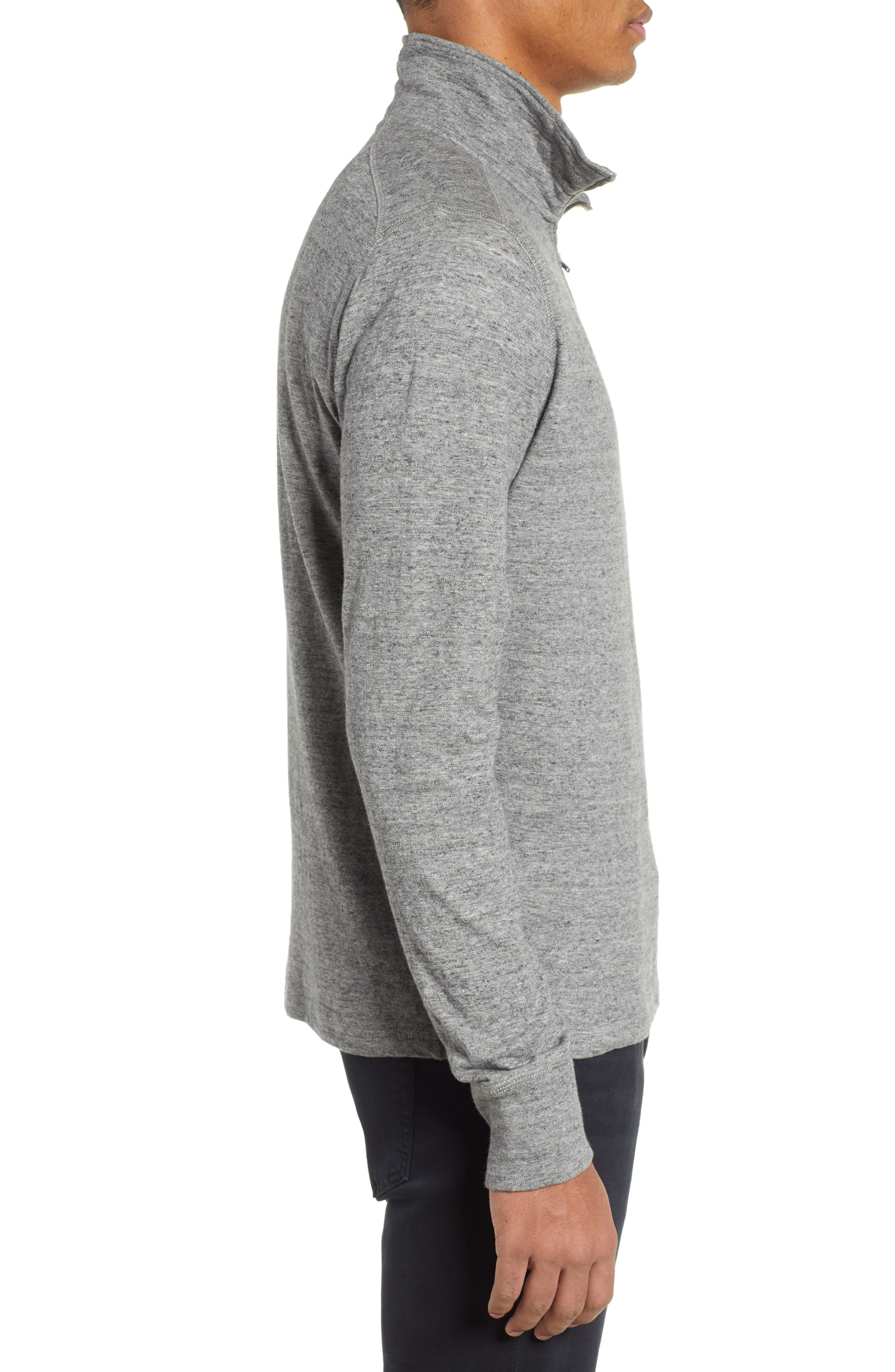 Double Knit Half Zip Pullover,                             Alternate thumbnail 3, color,                             MARLED STEEL