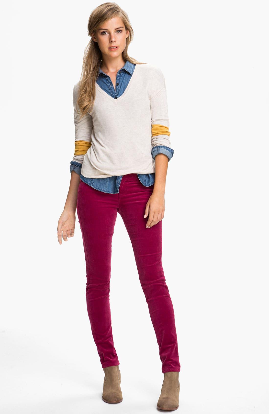 'Diana' Stretch Corduroy Skinny Pants,                             Alternate thumbnail 195, color,