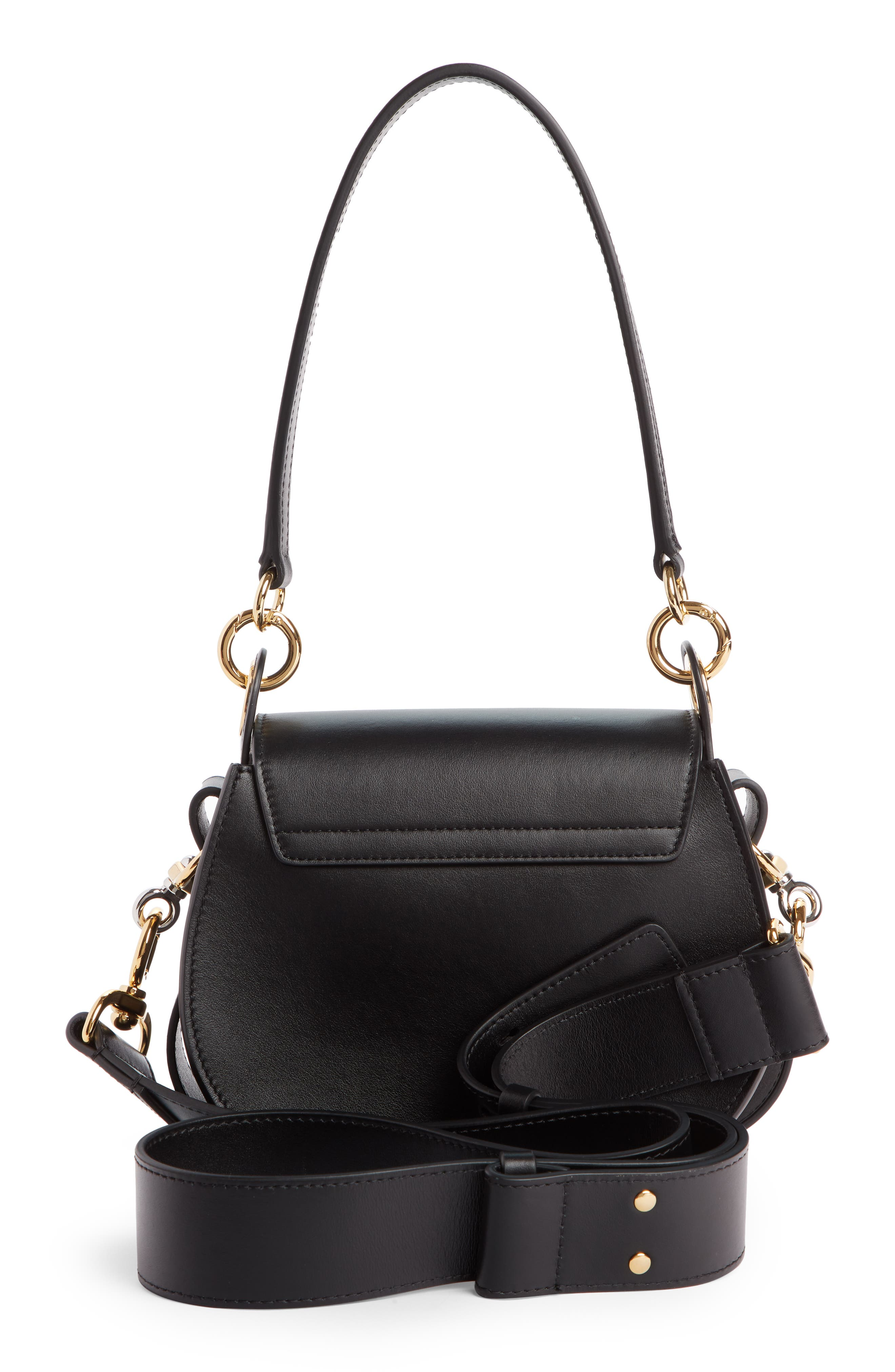 Small Tess Calfskin Leather Shoulder Bag,                             Alternate thumbnail 3, color,                             BLACK